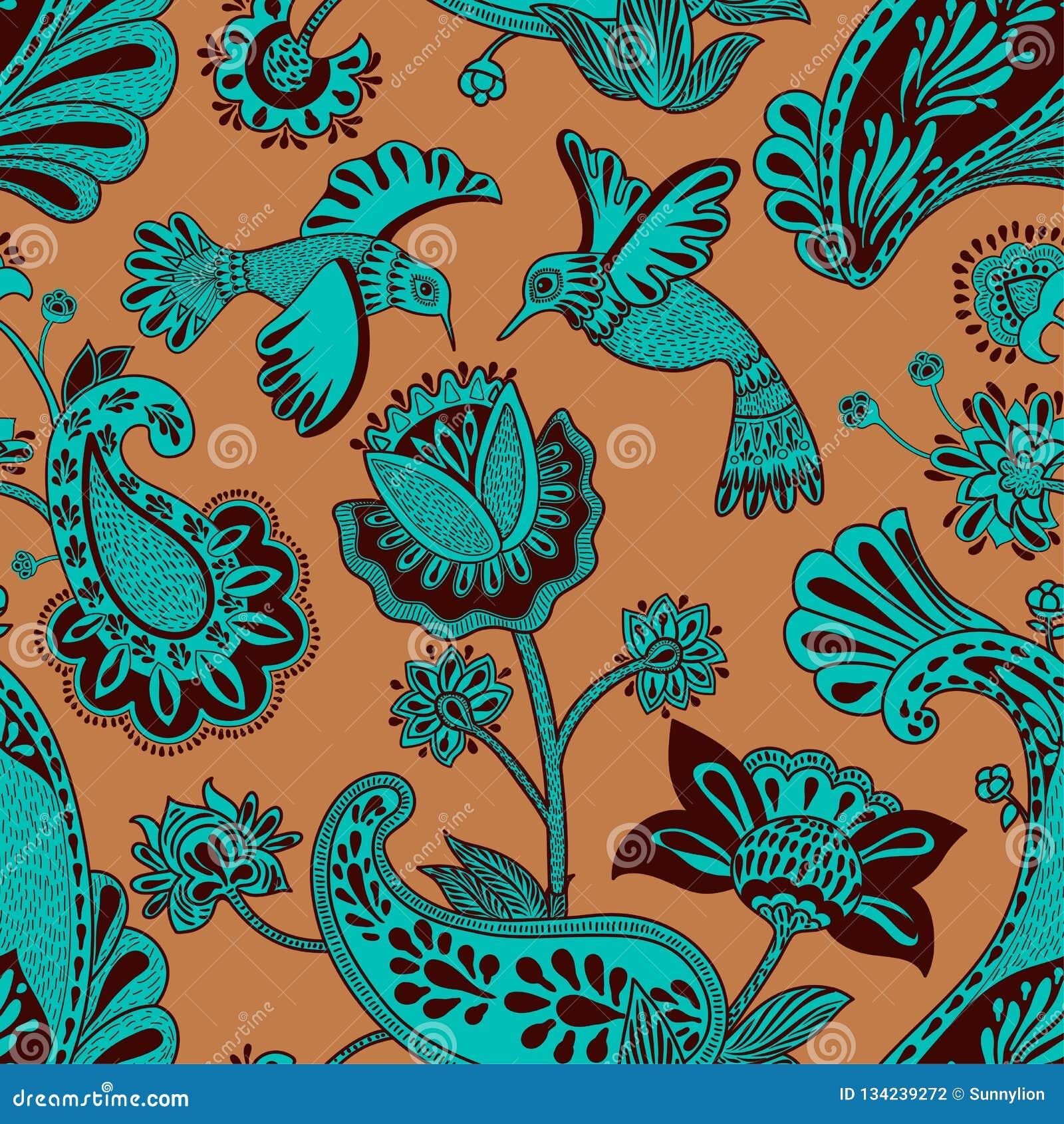 Modelo inconsútil del vector, estilo indio decorativo Flores y pájaros estilizados en el fondo rojo Ejemplo colorido de la histor
