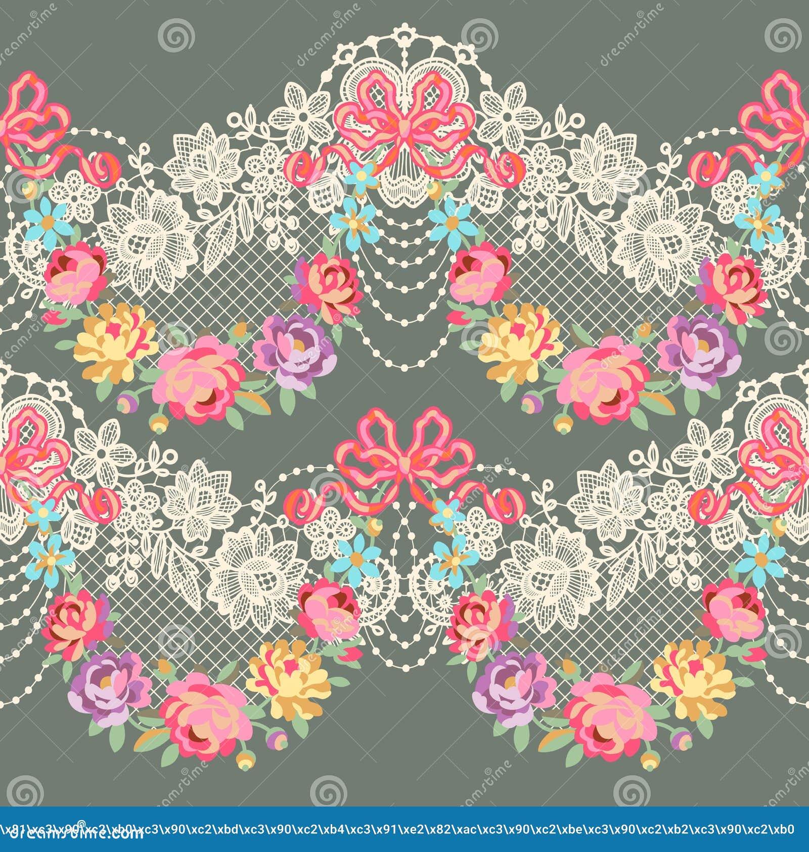 Modelo inconsútil del vector floral romántico de la cinta del cordón