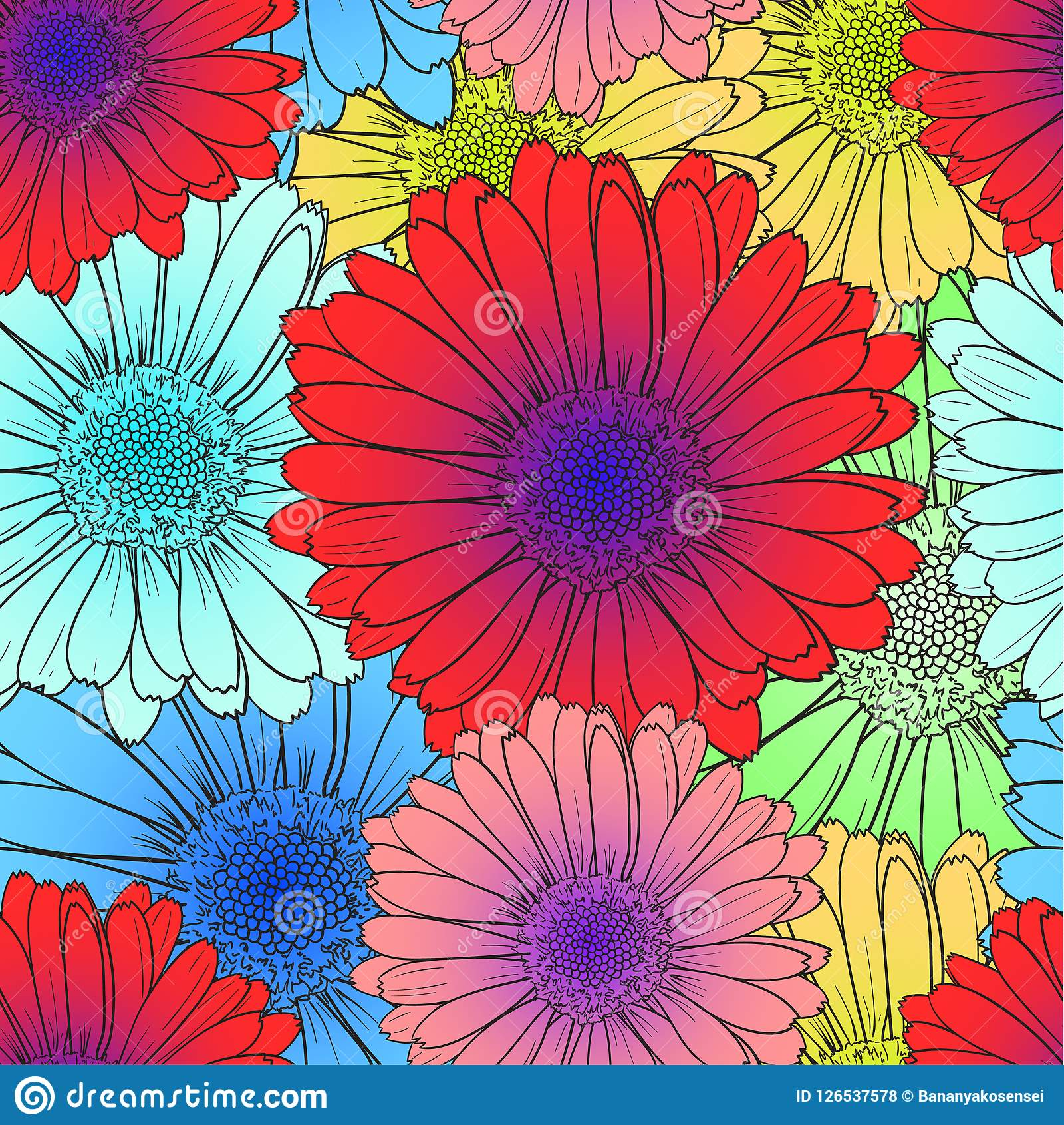 Modelo inconsútil del vector: Flores coloreadas brillantes, rojo, floraciones azules de la flor