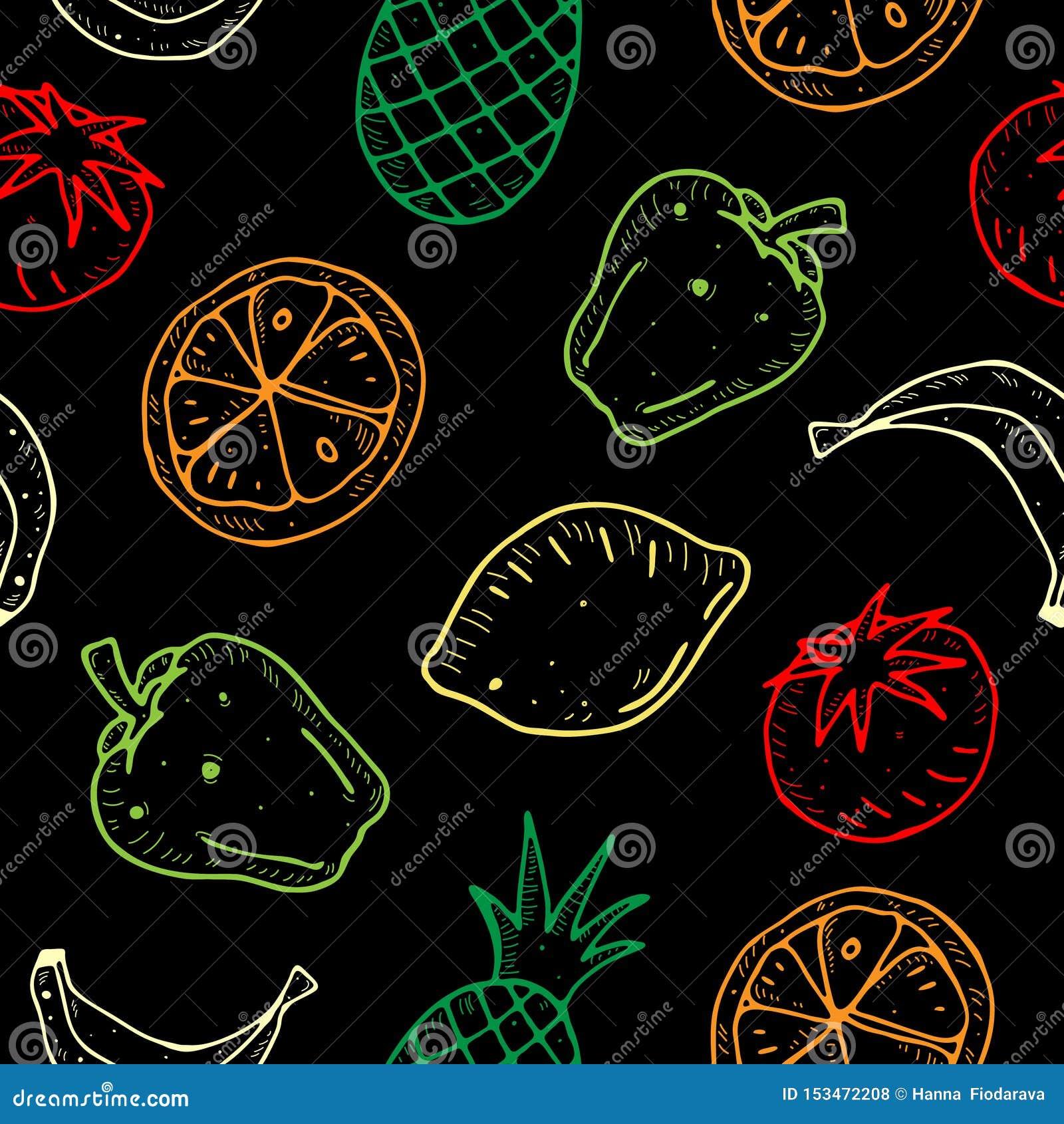 Modelo inconsútil del vector lindo de la historieta con las frutas y verduras en fondo oscuro