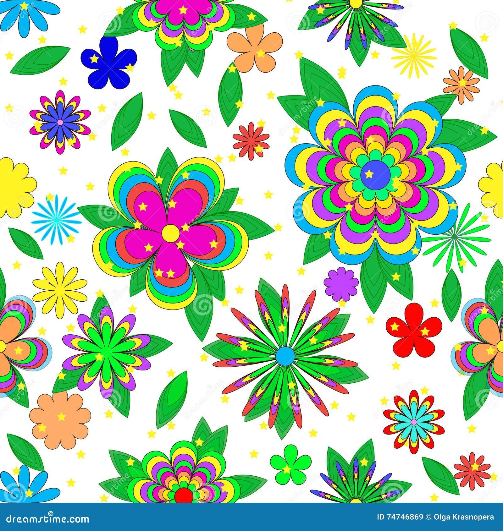 Modelo inconsútil del verano de las historietas de los niños con las flores, las hojas y las estrellas