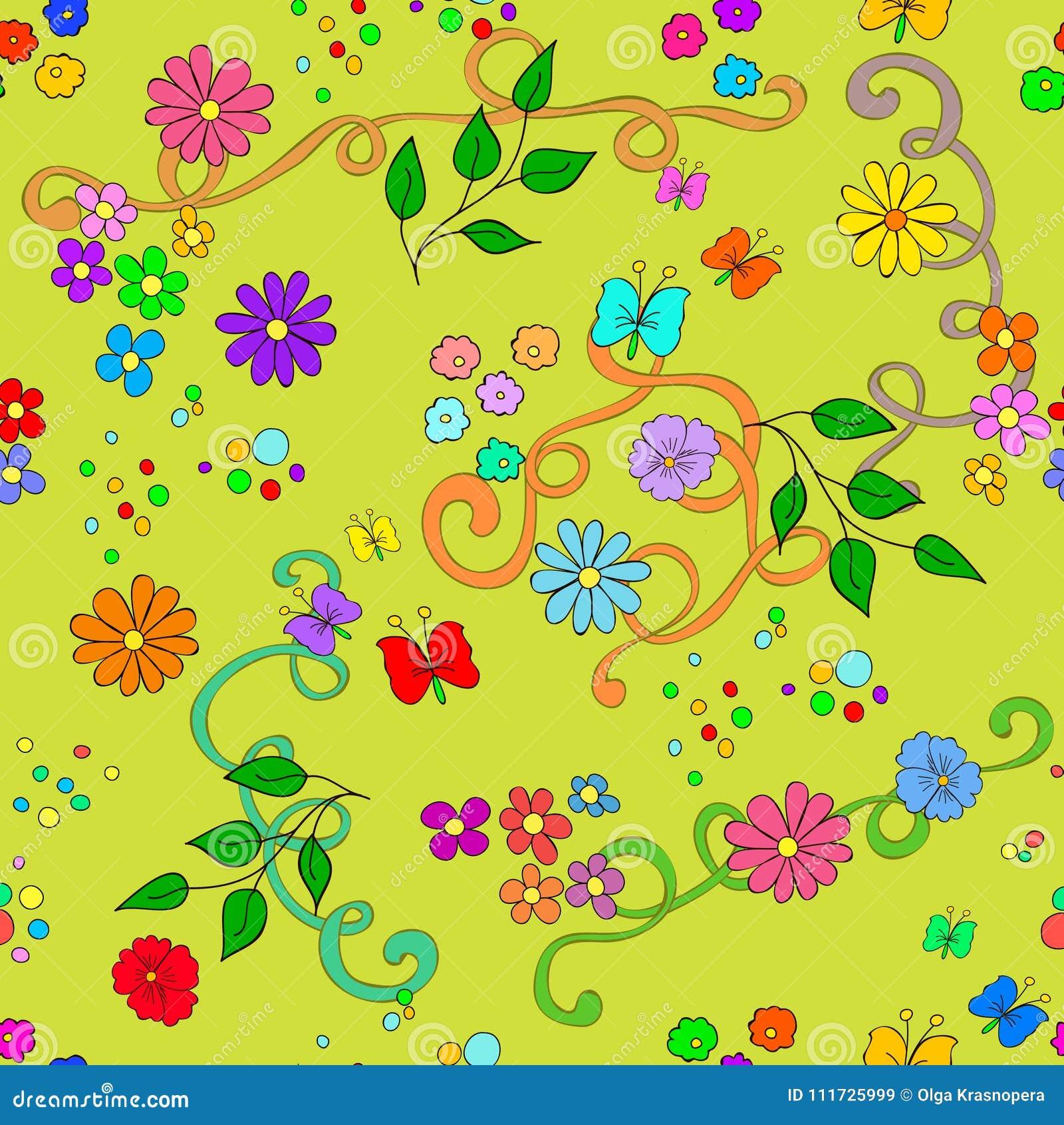 Modelo inconsútil del verano del ` s de los niños con las flores, las hojas, los remolinos y la mariposa