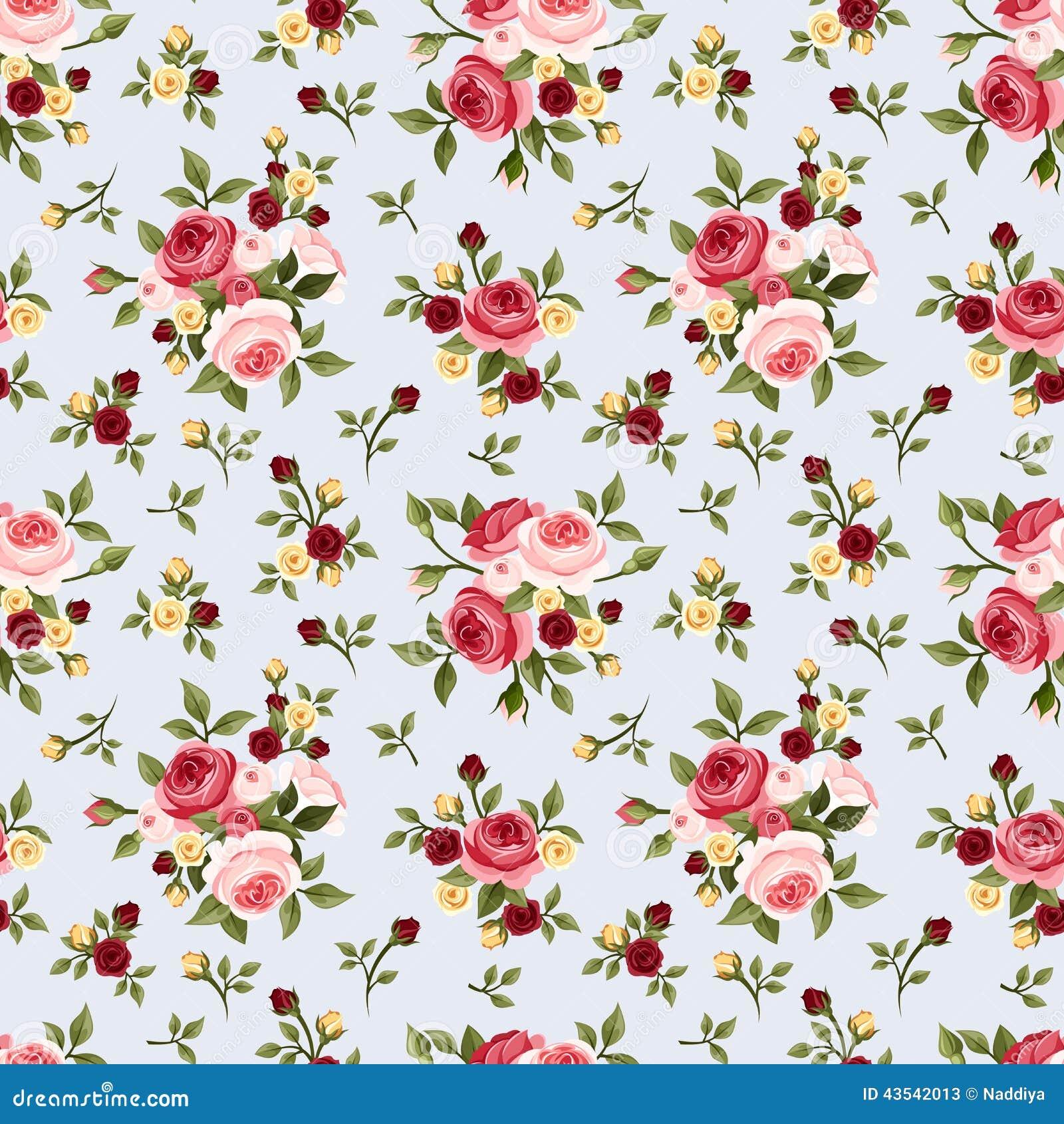 Modelo inconsútil del vintage con las rosas rosadas en azul Ilustración del vector