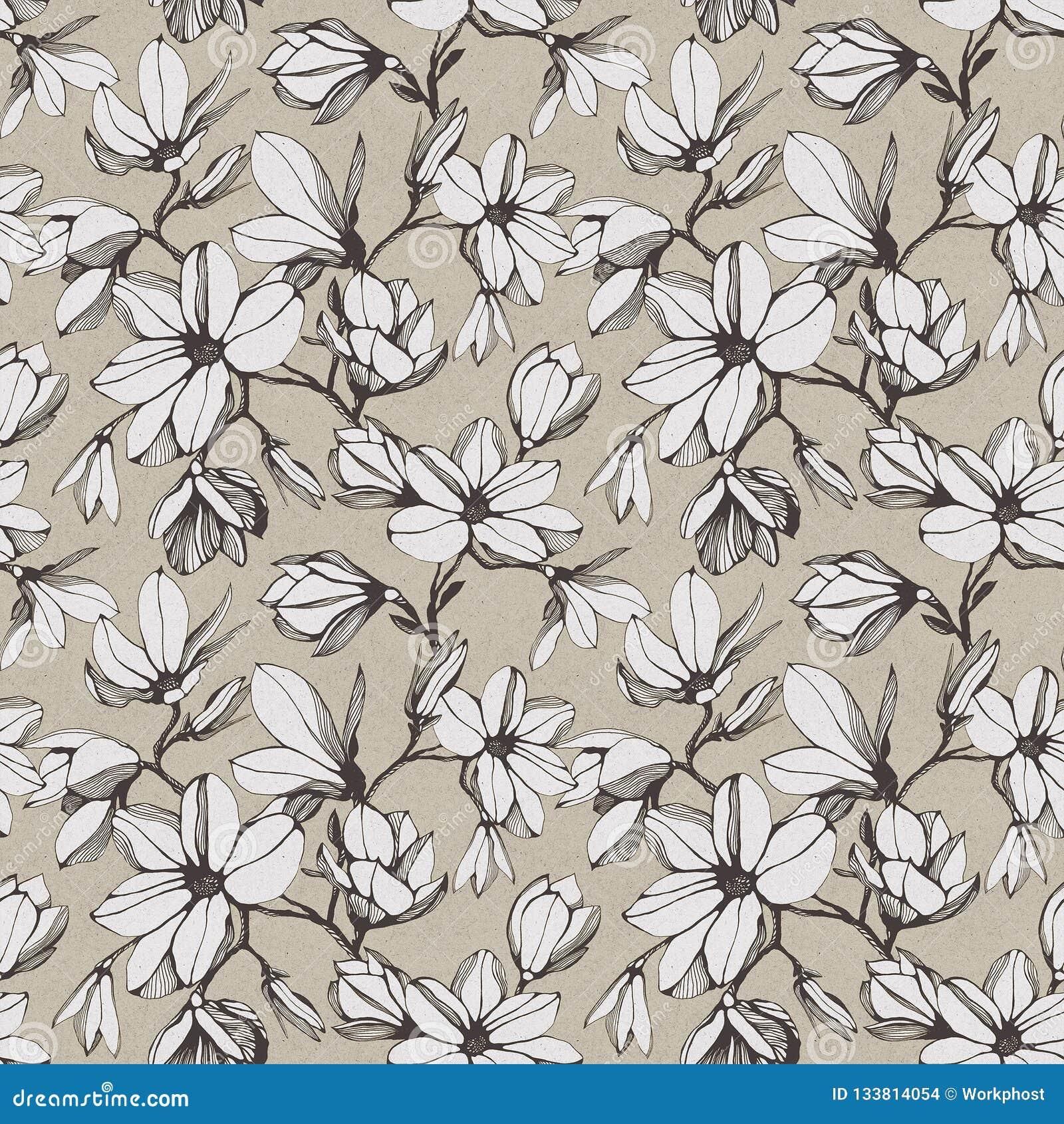 Modelo inconsútil del vintage de la flor de la magnolia en un backgroun de papel