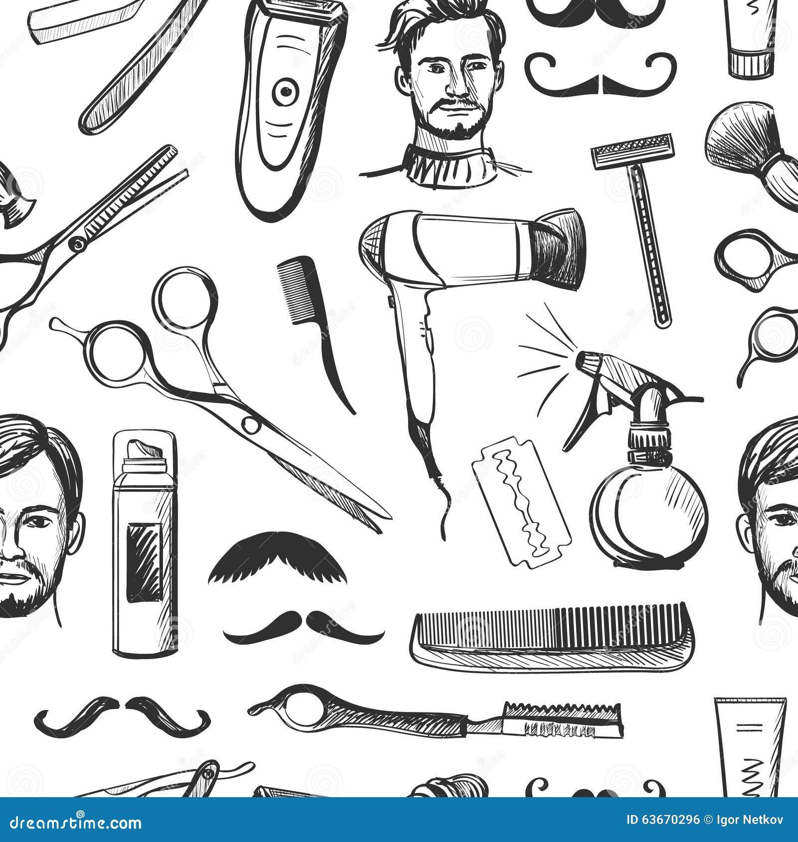 Modelo inconsútil dibujado mano de la barbería retra