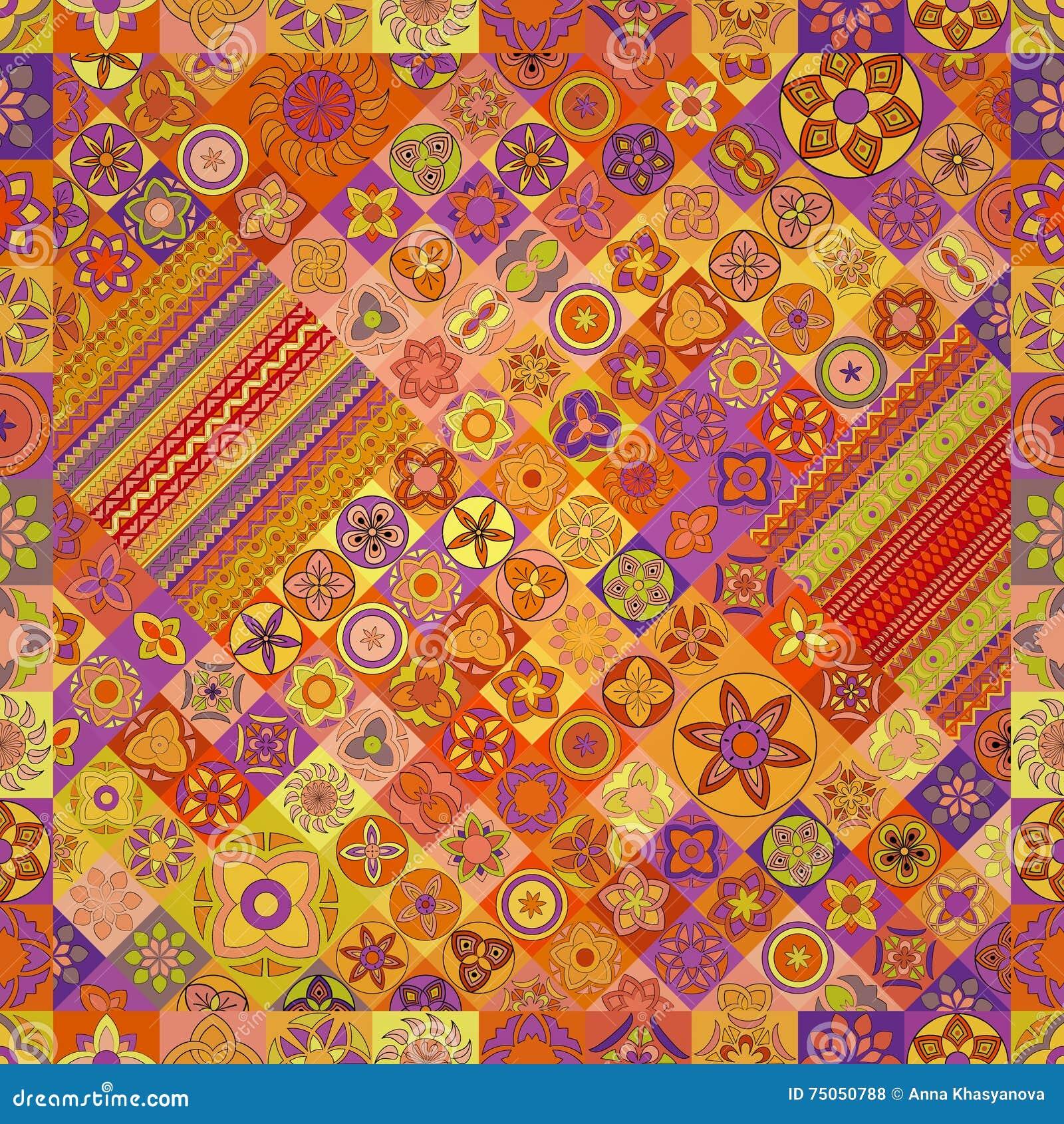 Modelo inconsútil Elementos decorativos de la vendimia Fondo dibujado mano Islam, árabe, indio, adornos del otomano
