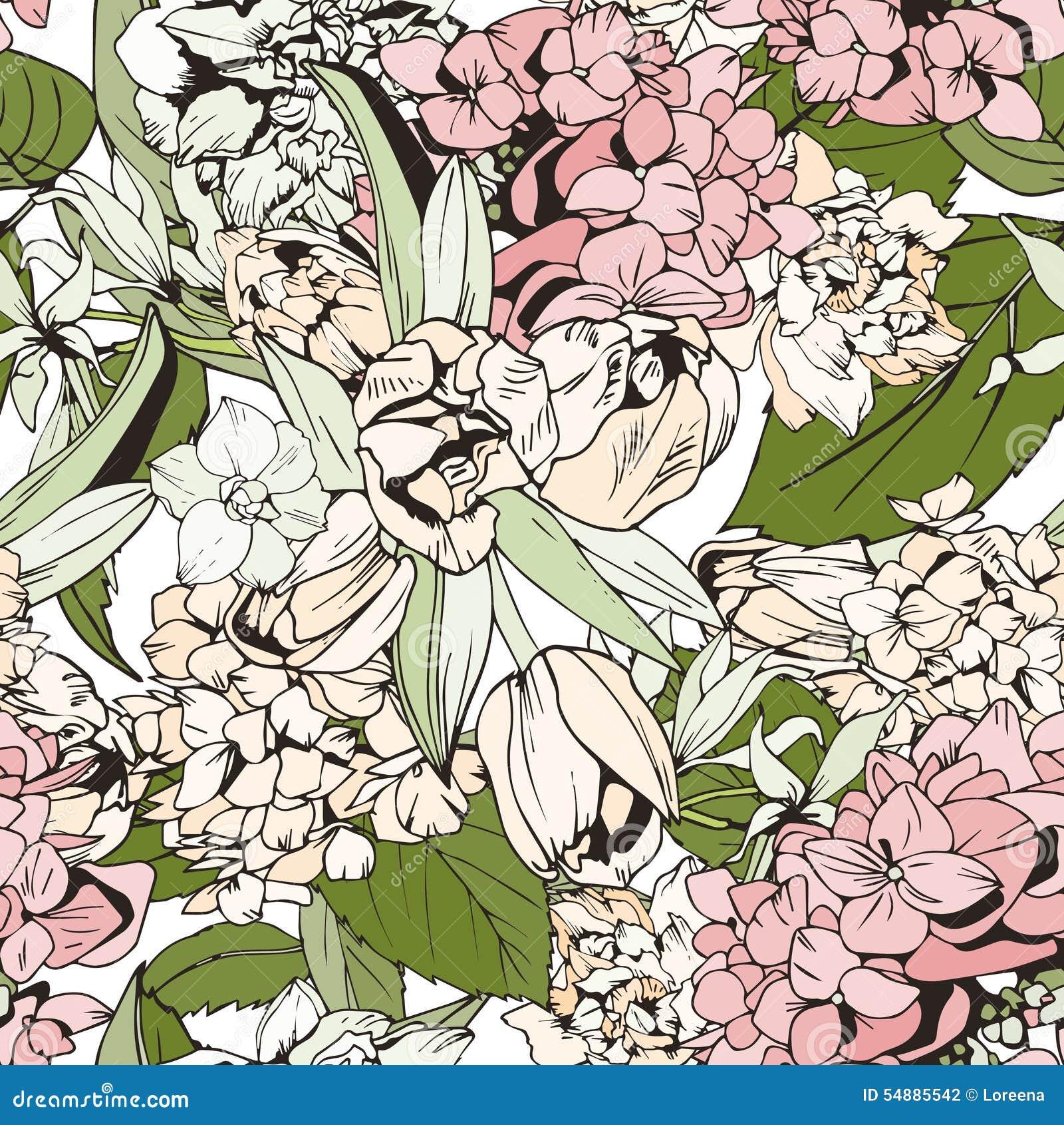 modelo inconstil en colores pastel con los tulipanes y las hortensias