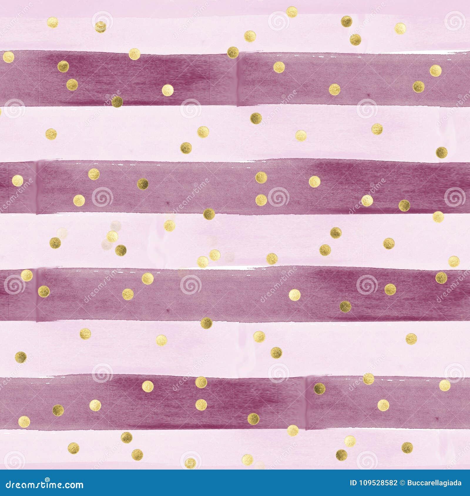 Modelo inconsútil en efecto de la acuarela - rayas horizontales en rosado y púrpura con confeti del oro