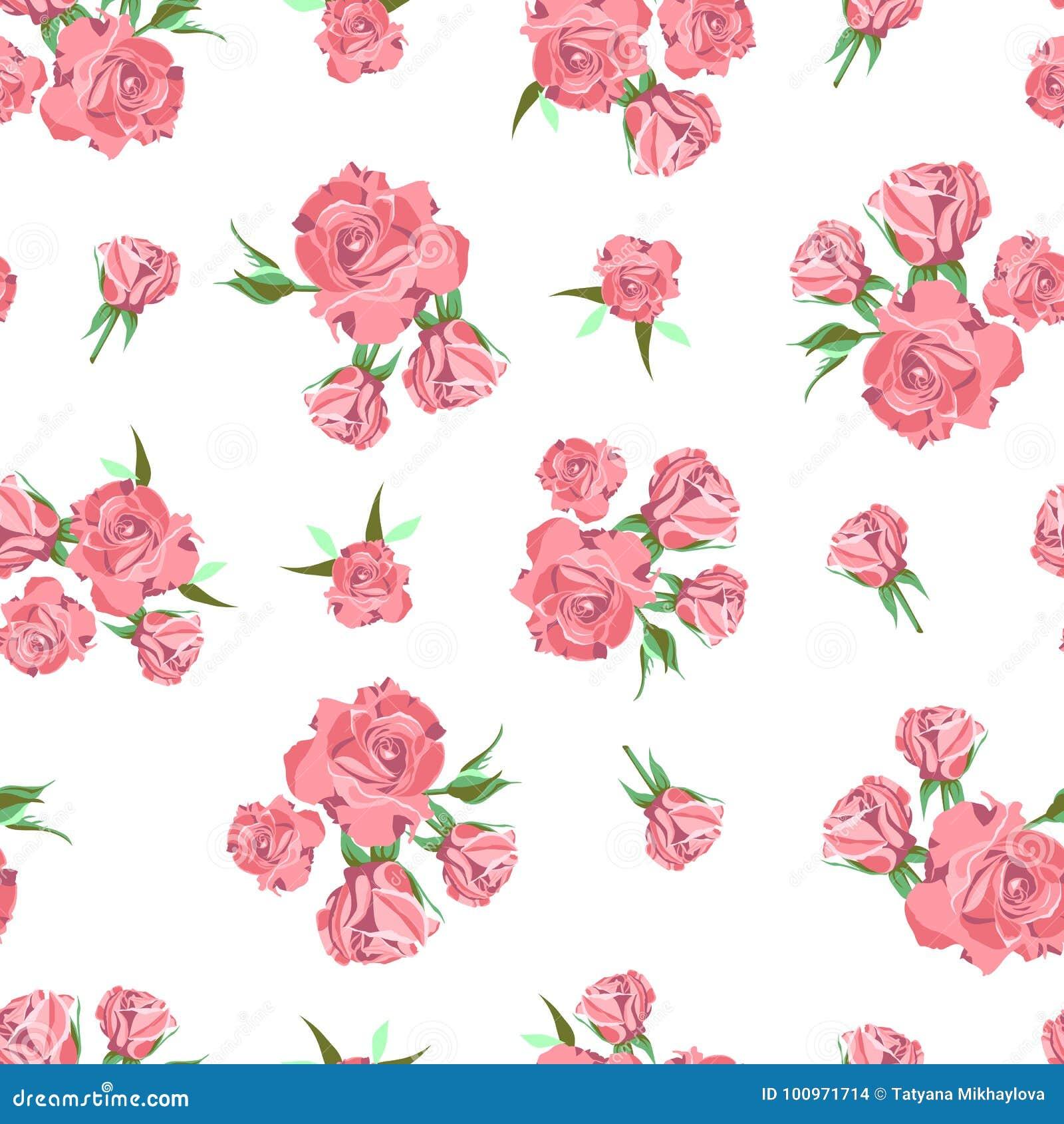 Modelo Inconsútil En El Fondo Blanco Flores De Rose Ilustración Del