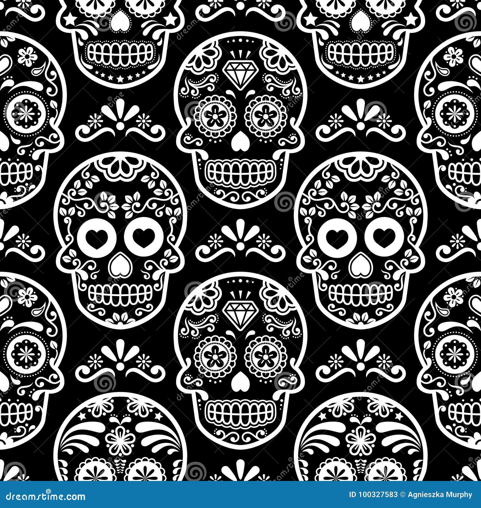 Modelo inconsútil en negro, cráneos blancos fondo, día de la celebración muerta, Calave del cráneo mexicano del azúcar del carame