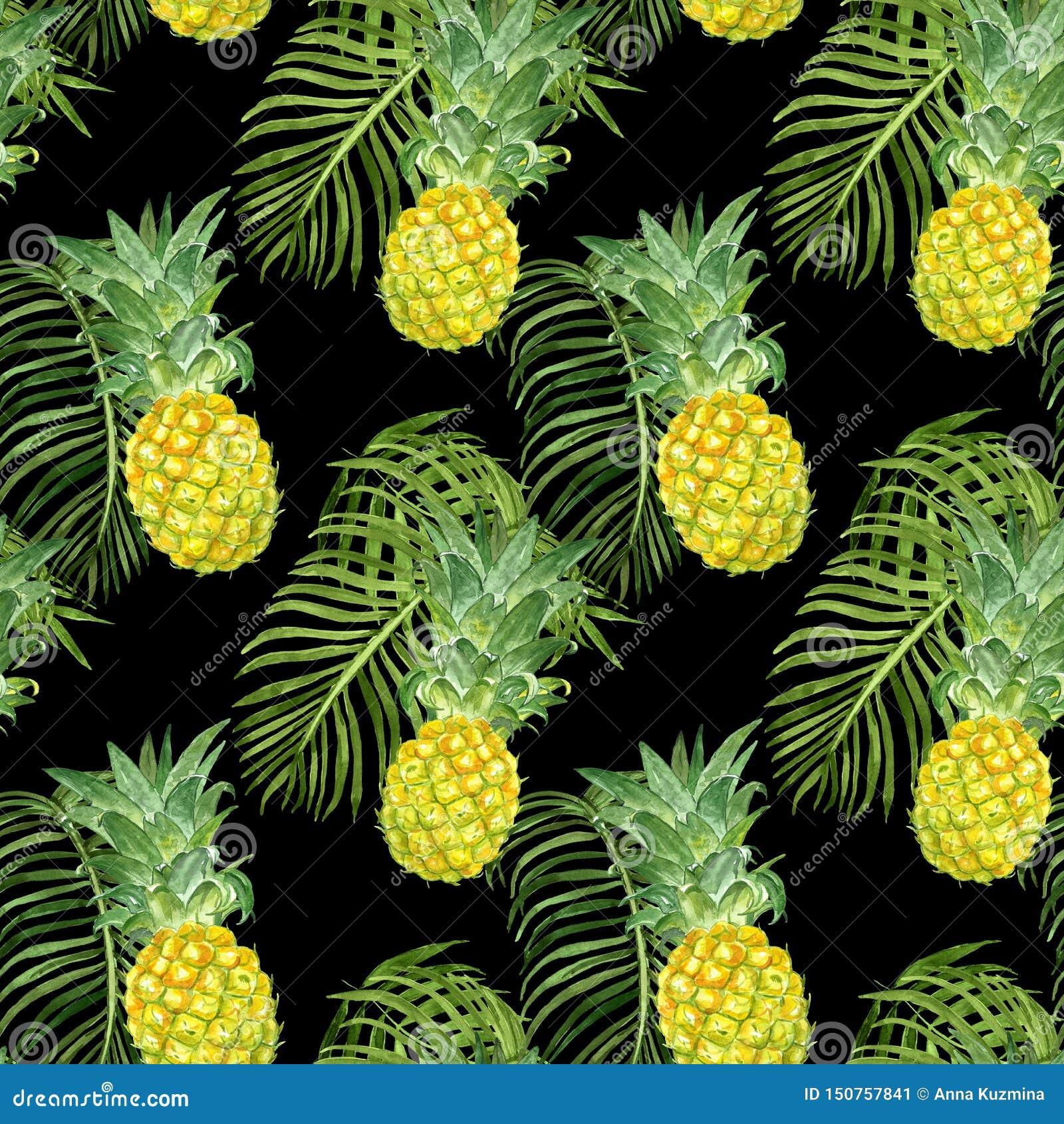 Modelo inconsútil exótico de las frutas tropicales del verano Piñas de Watercolop y hoja maduras del verde de la palma en fondo o