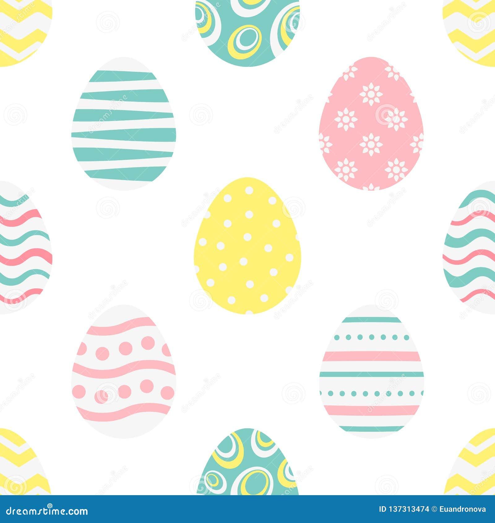 Modelo inconsútil feliz de pascua con los huevos coloridos estilizados en un fondo blanco Textura sin fin para el diseño de la pr