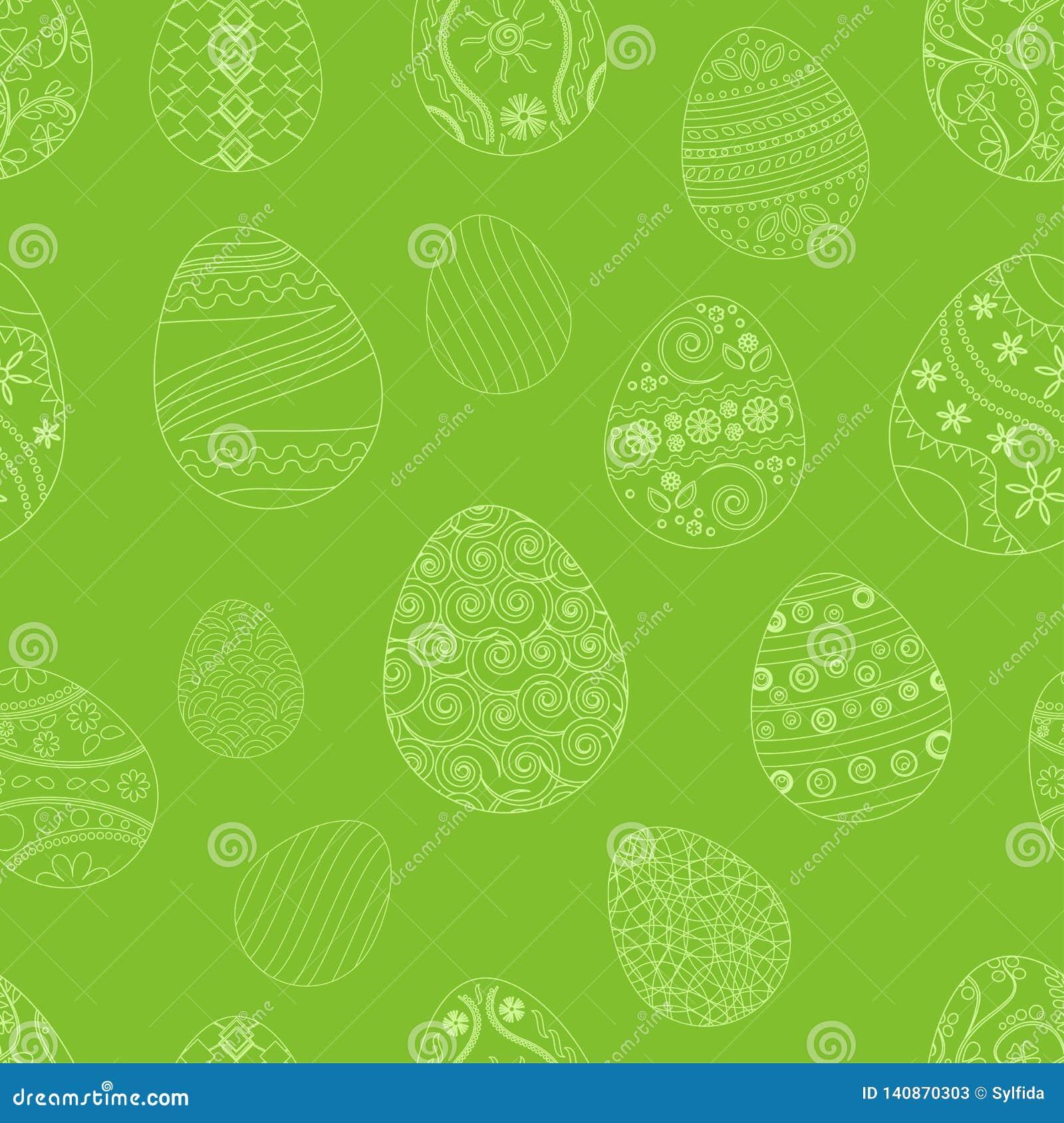 Modelo inconsútil festivo con los huevos de Pascua en fondo verde Ilustración del vector