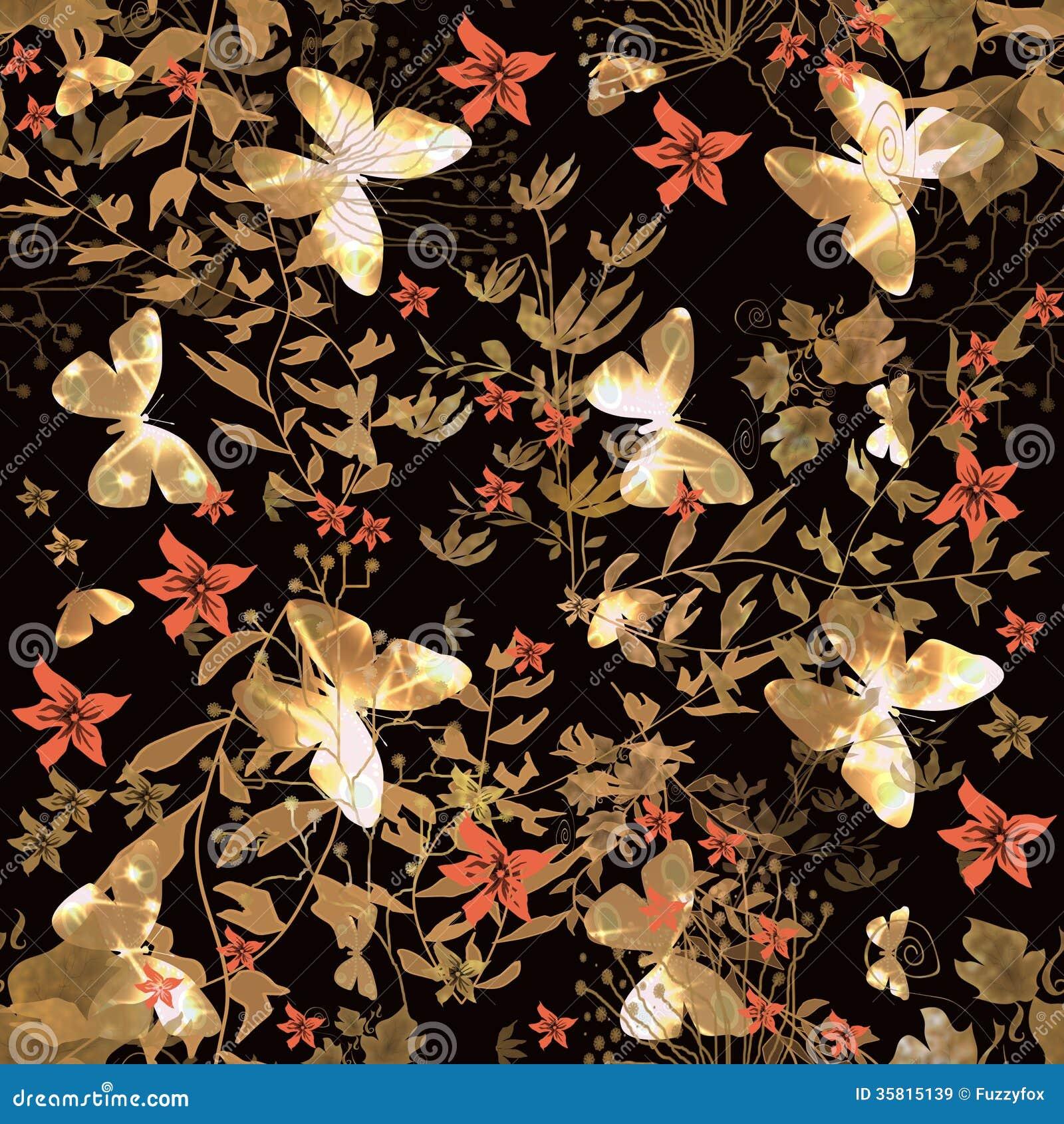 Modelo inconsútil floral con la mariposa