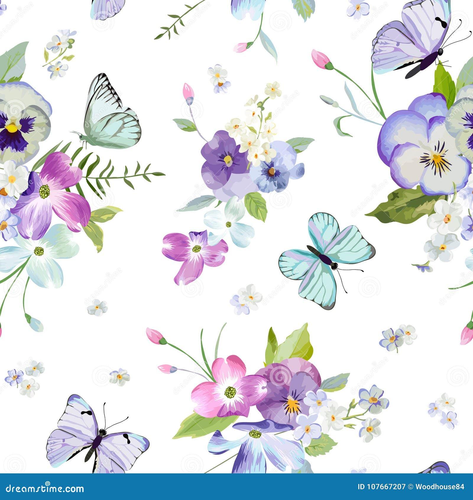 Modelo inconsútil floral con las flores florecientes y las mariposas que vuelan Fondo de la naturaleza de la acuarela para la tel