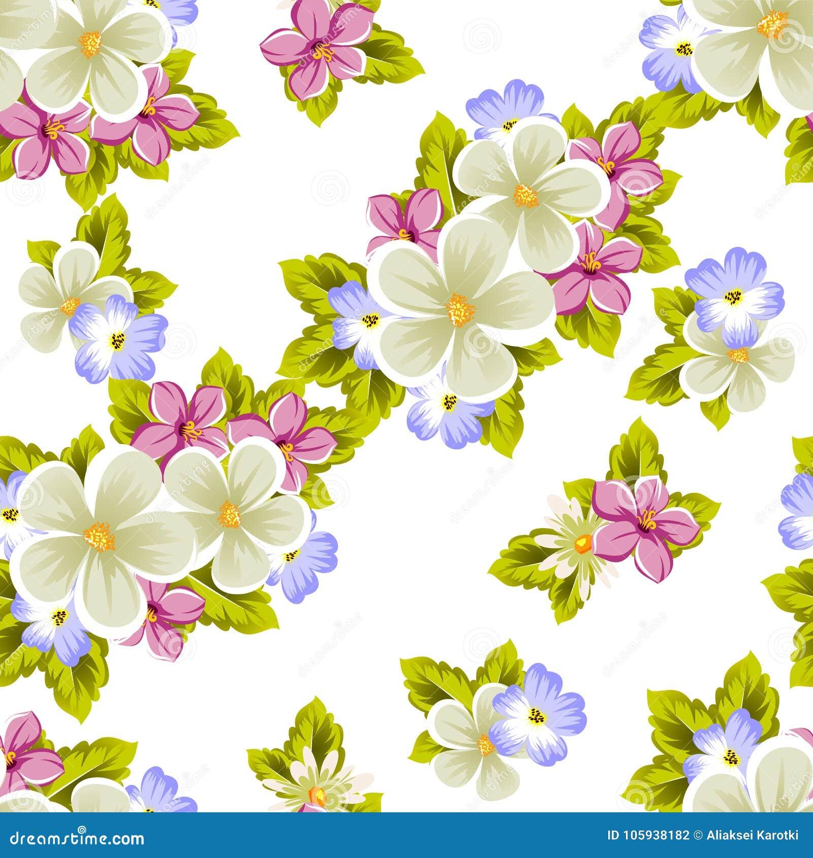 Modelo Inconsútil Floral De Varias Flores Para El Diseño De