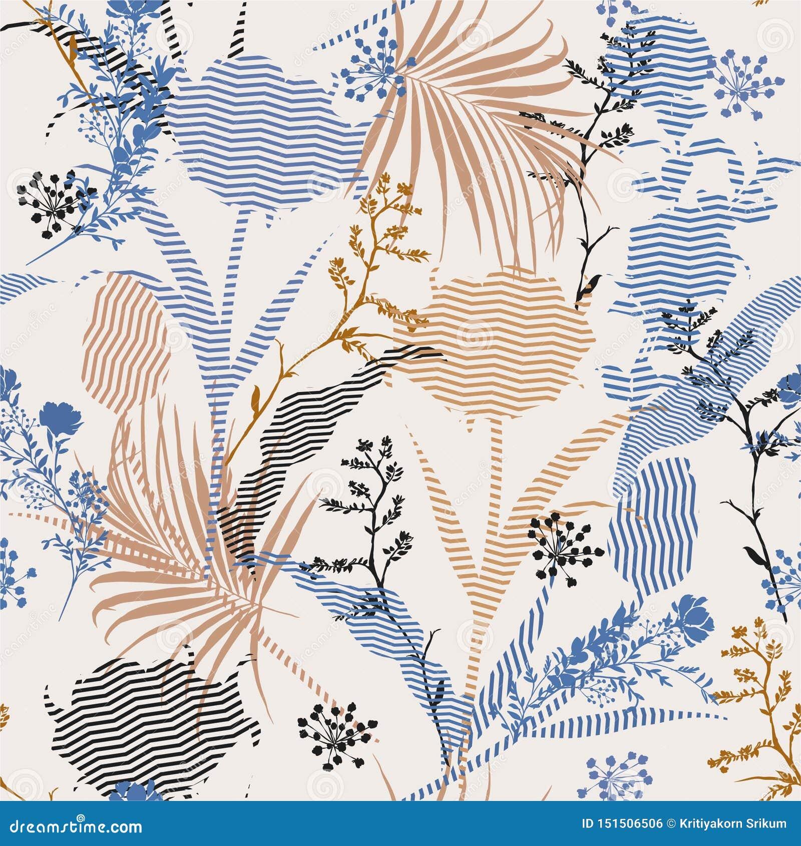 Modelo inconsútil floral del vintage de la silueta botánica hermosa del vector en la raya moderna de relleno, papel pintado delic
