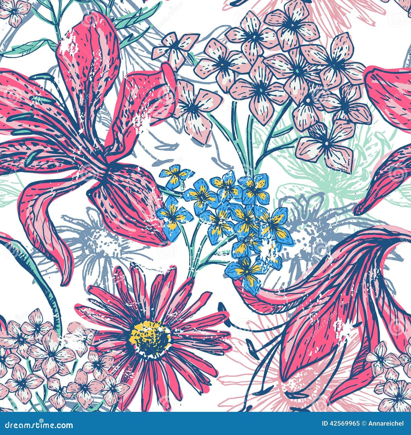 Modelo inconsútil floral dibujado mano del vintage