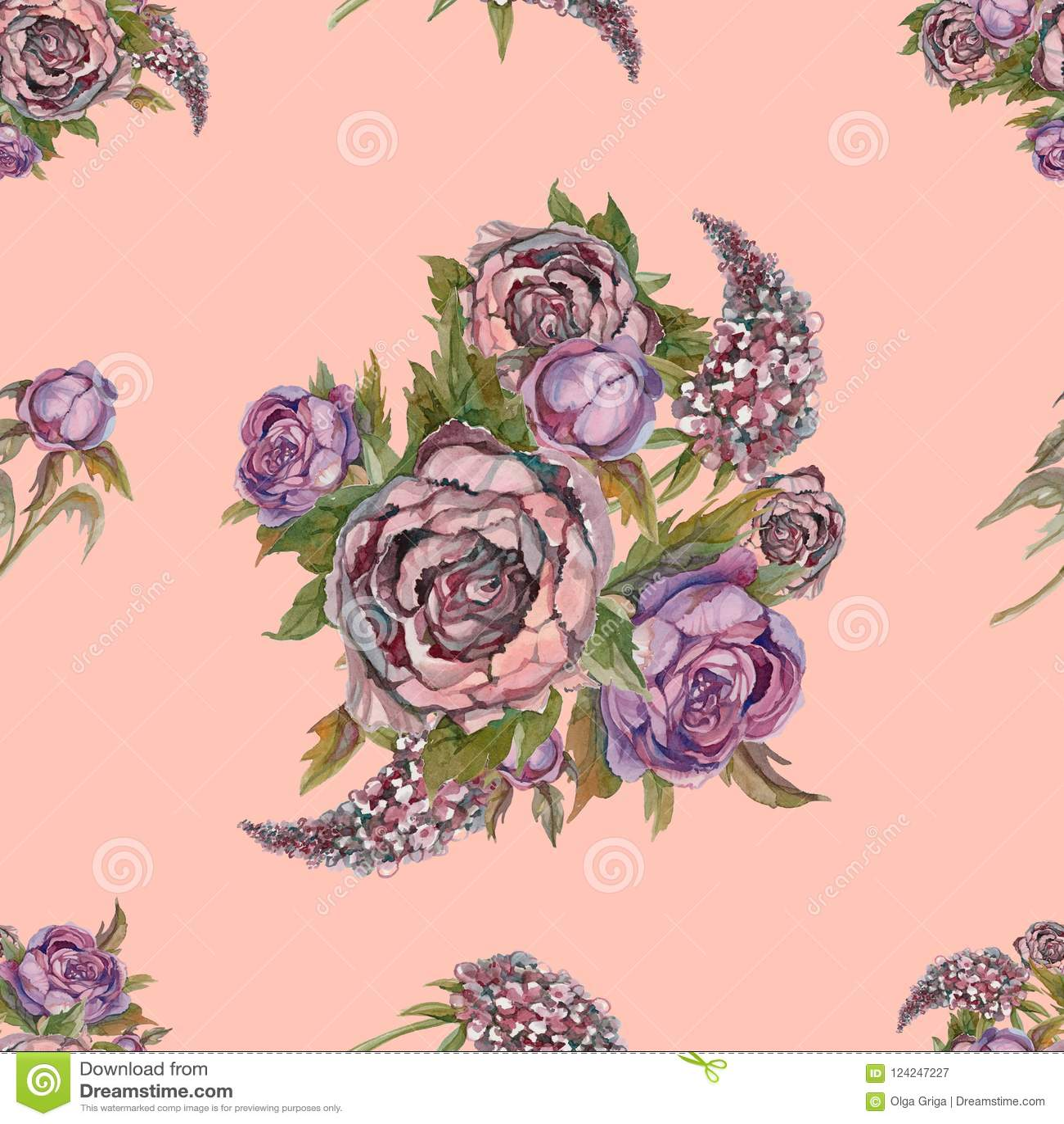 Modelo Inconsutil Floral Flores De La Acuarela Rosas Peonias Lilas