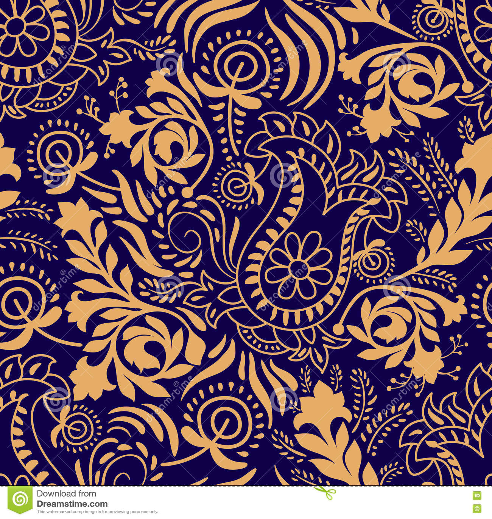 Modelo inconsútil floral Fondo de Paisley en dos colores