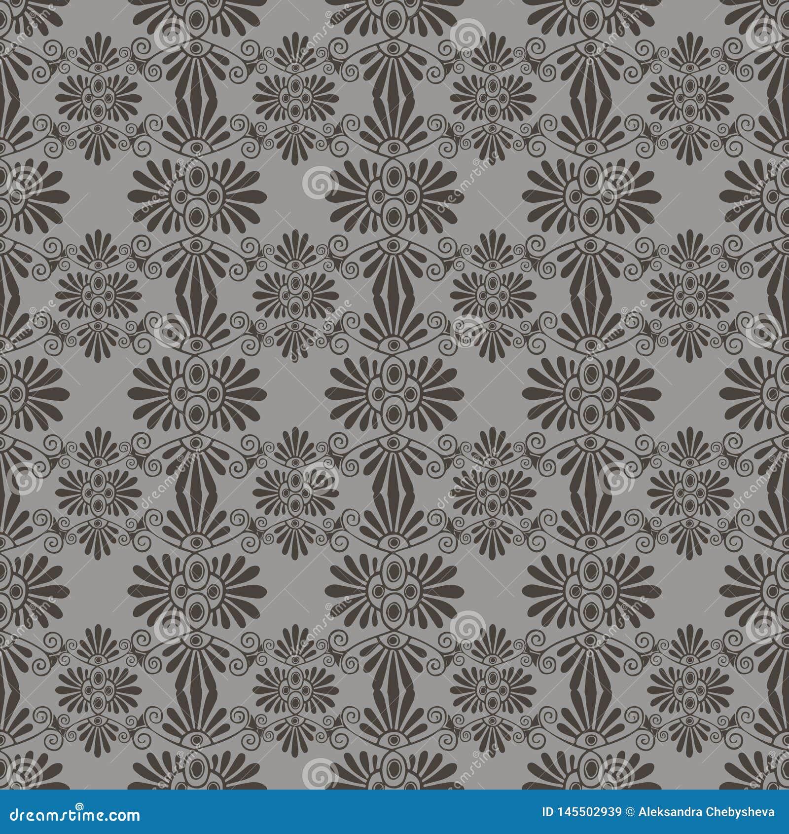Modelo inconsútil floral gris del vector en el estilo de Art Nouveau