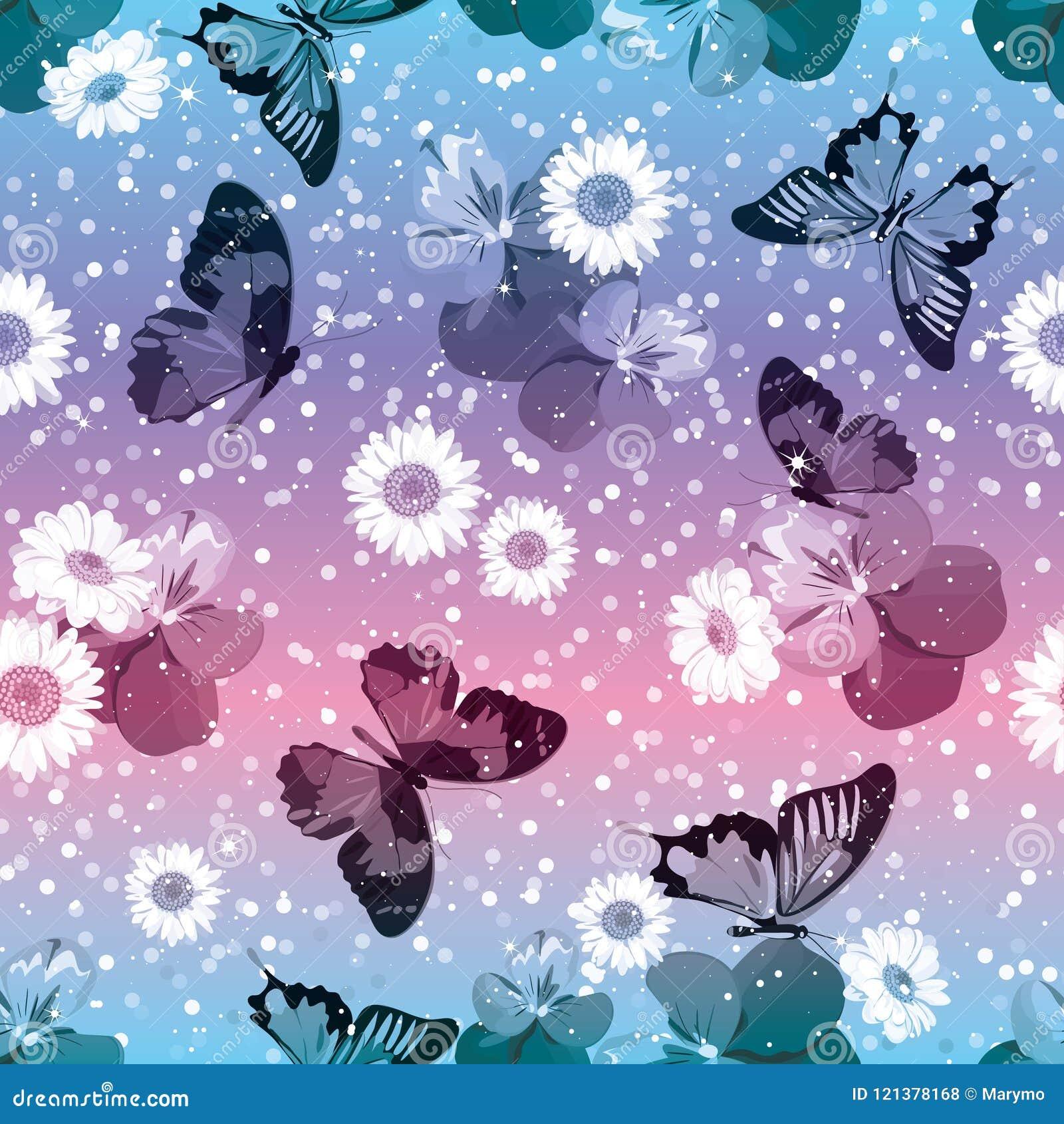 Modelo inconsútil floral Pensamientos con las manzanillas, buttrflies en fondo rosado y azul de la chispa Ilustración del vector