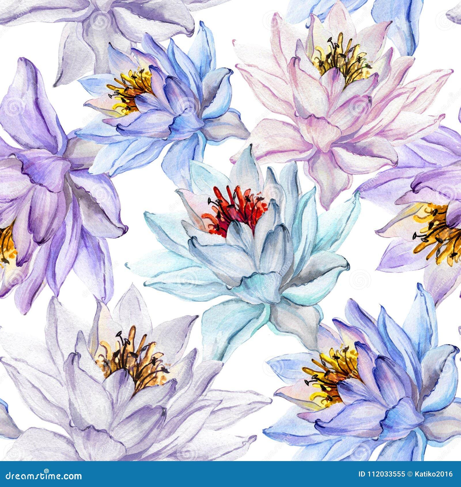 Modelo inconsútil floral tropical hermoso Flores de loto grandes en sombras en colores pastel en el fondo blanco Ilustración dren