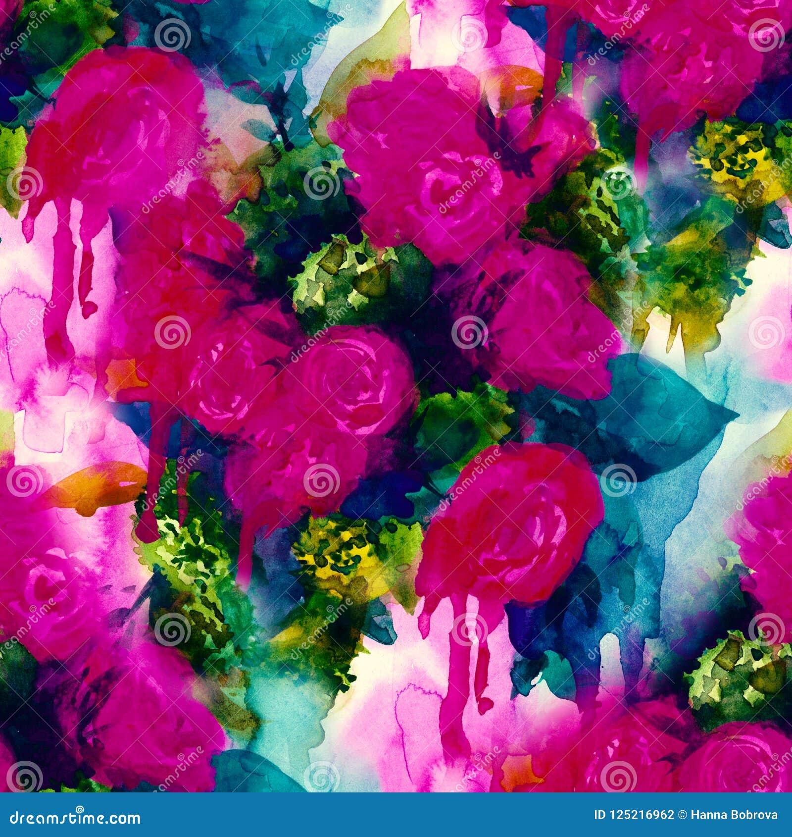 Modelo inconsútil Fondo pintado a mano de la acuarela Flores abstractas el ramo de flores, subió, peonía, tarjeta de felicitación
