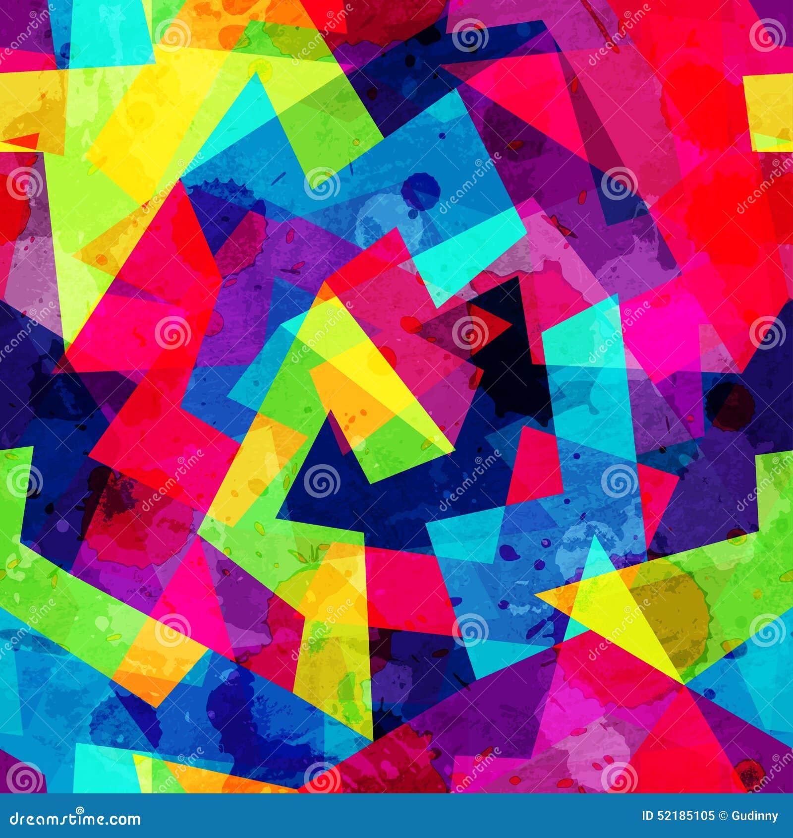 Modelo inconsútil geométrico brillante con efecto del grunge