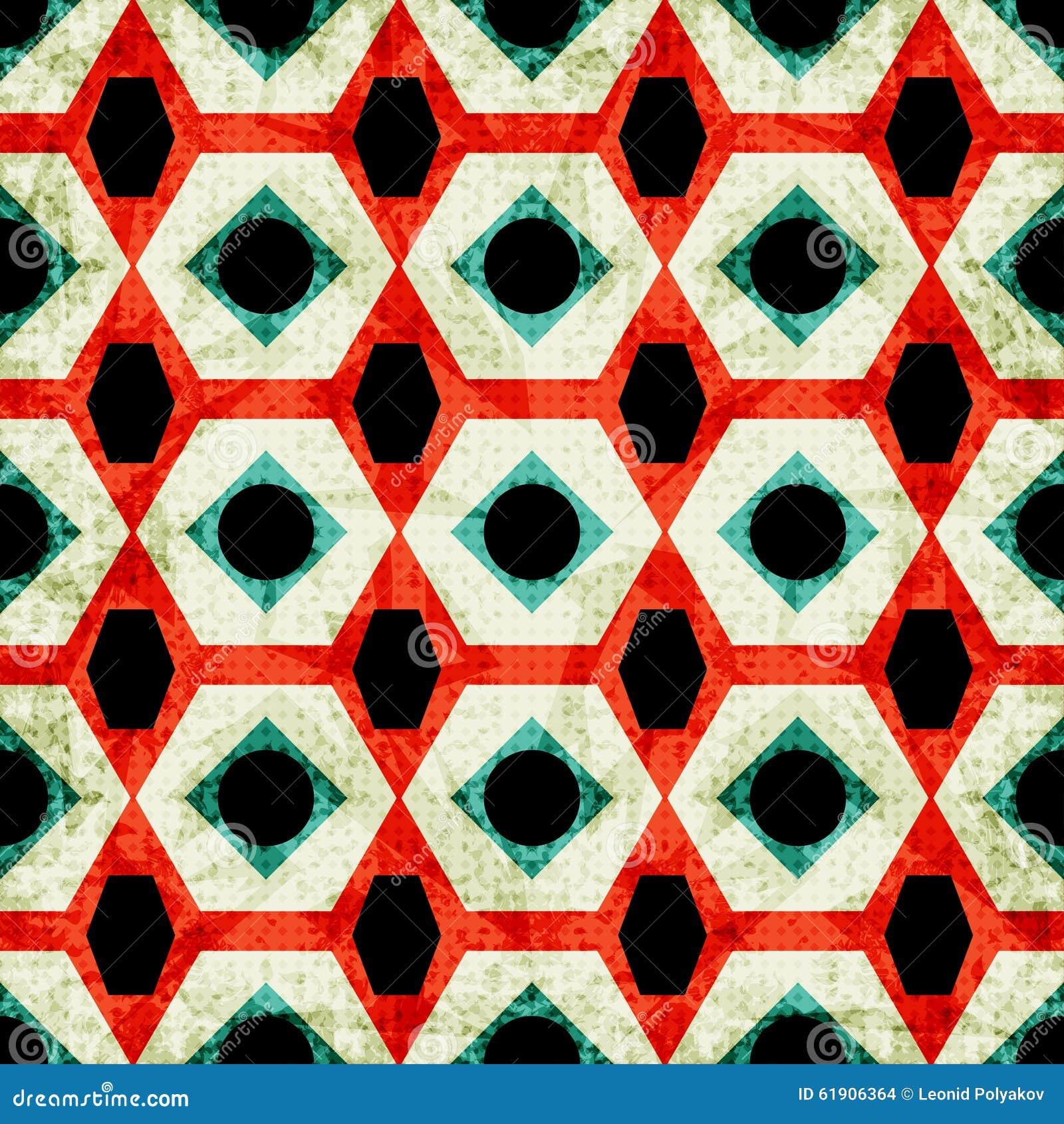 Modelo inconsútil geométrico colorido en efecto retro del grunge del estilo