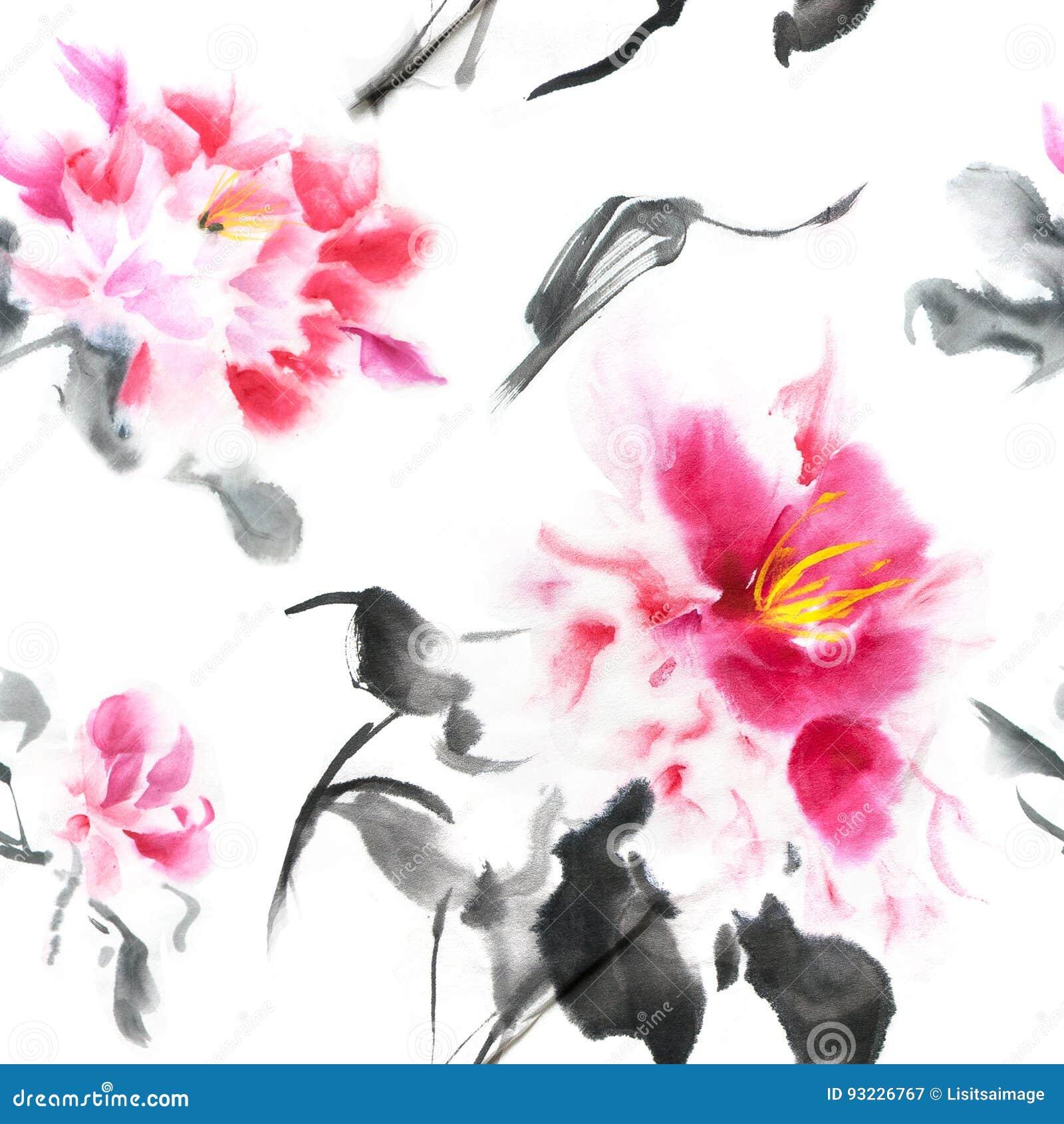 Modelo inconsútil hermoso con las peonías rosadas pintadas con tinta en estilo japonés Papel pintado con las flores de la acuarel