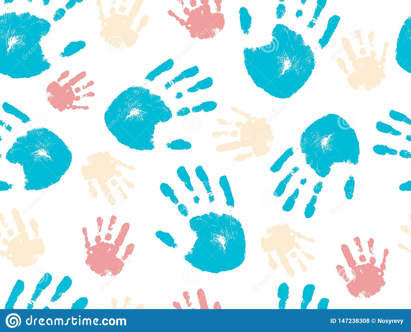 Modelo inconsútil hermoso de la palma humana de la mano Ilustraci?n del vector