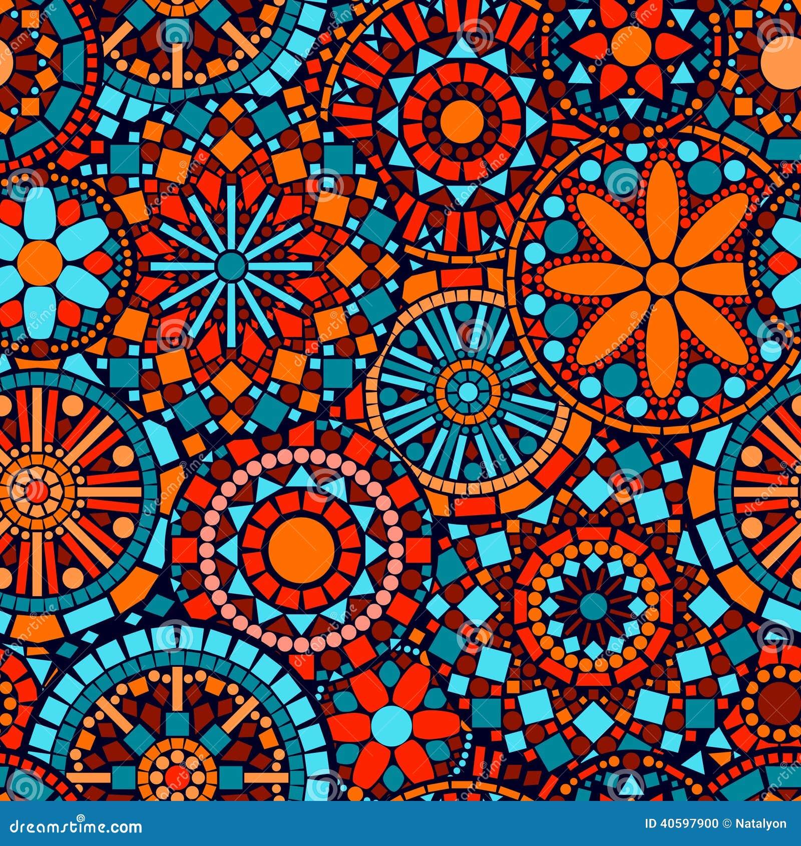 Modelo inconsútil i del círculo de las mandalas coloridas de la flor