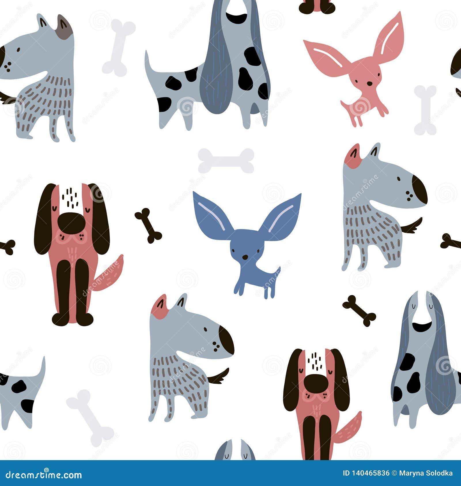 Modelo inconsútil infantil con los perros creativos divertidos Fondo escandinavo de moda del vector Perfeccione para la ropa de l