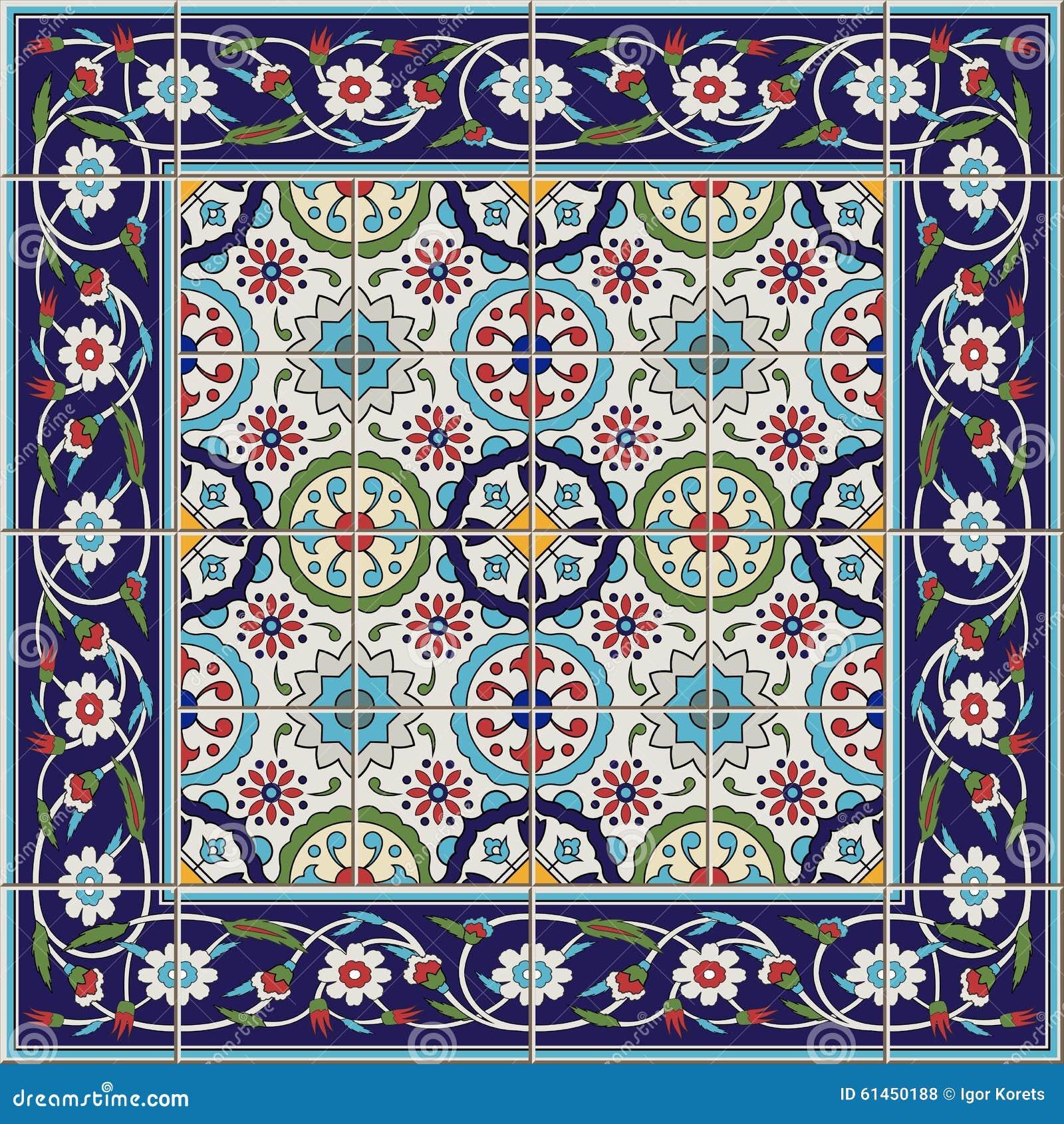Modelo inconsútil magnífico de las tejas y de la frontera Marroquí, portugués, turco, ornamentos de Azulejo