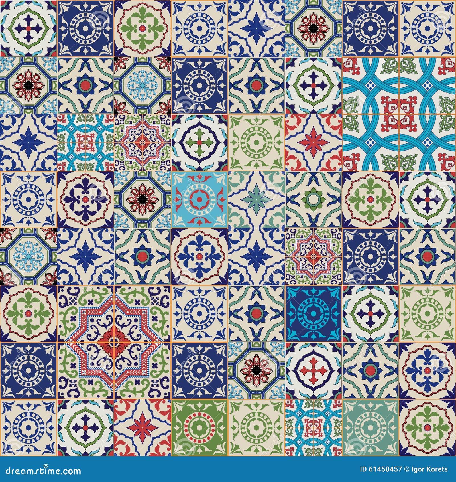 Modelo inconsútil magnífico mega del remiendo de las tejas marroquíes, portuguesas coloridas, Azulejo, ornamentos