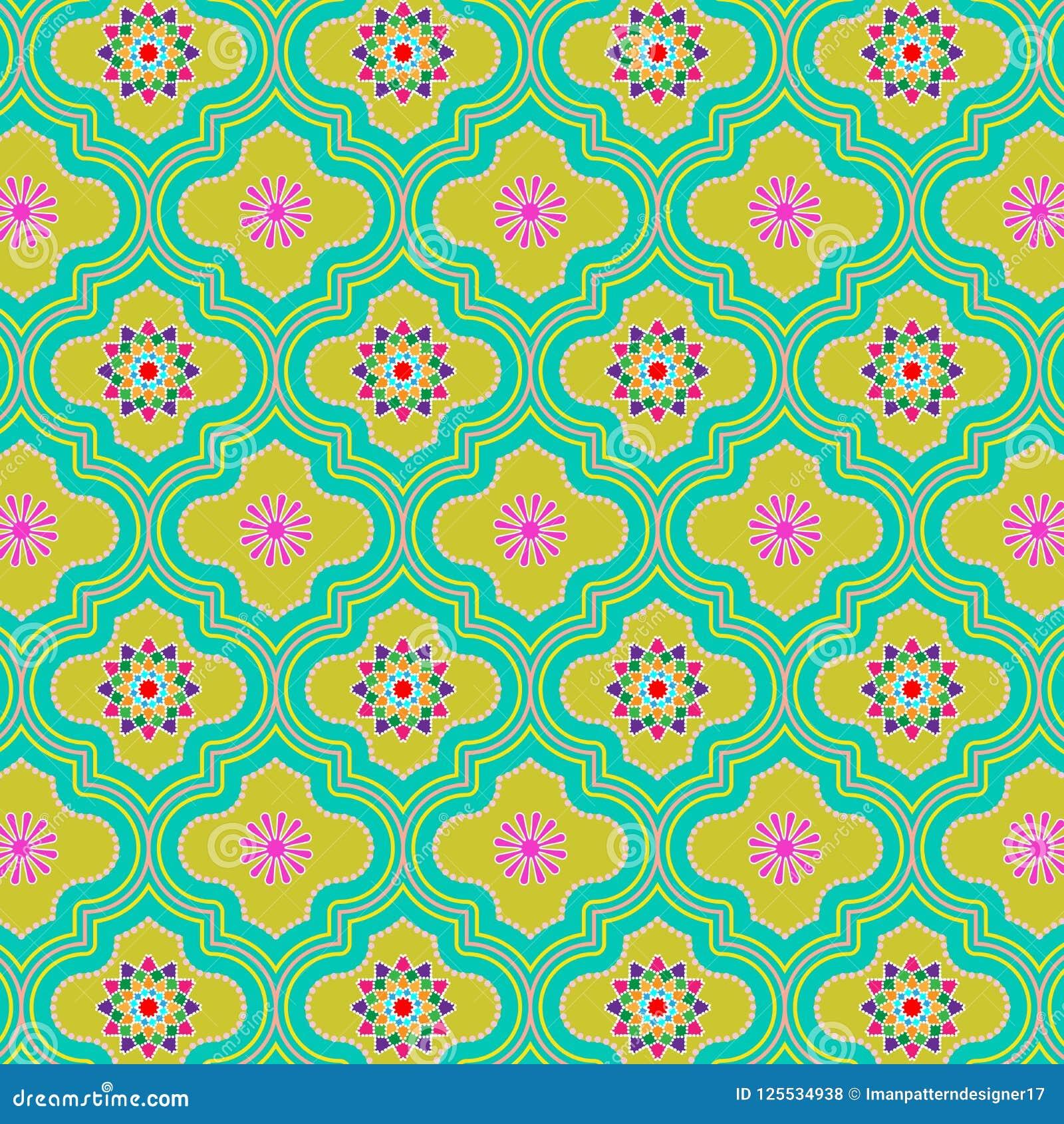 Modelo inconsútil marroquí adornado colorido verde hermoso con diseños florales coloridos