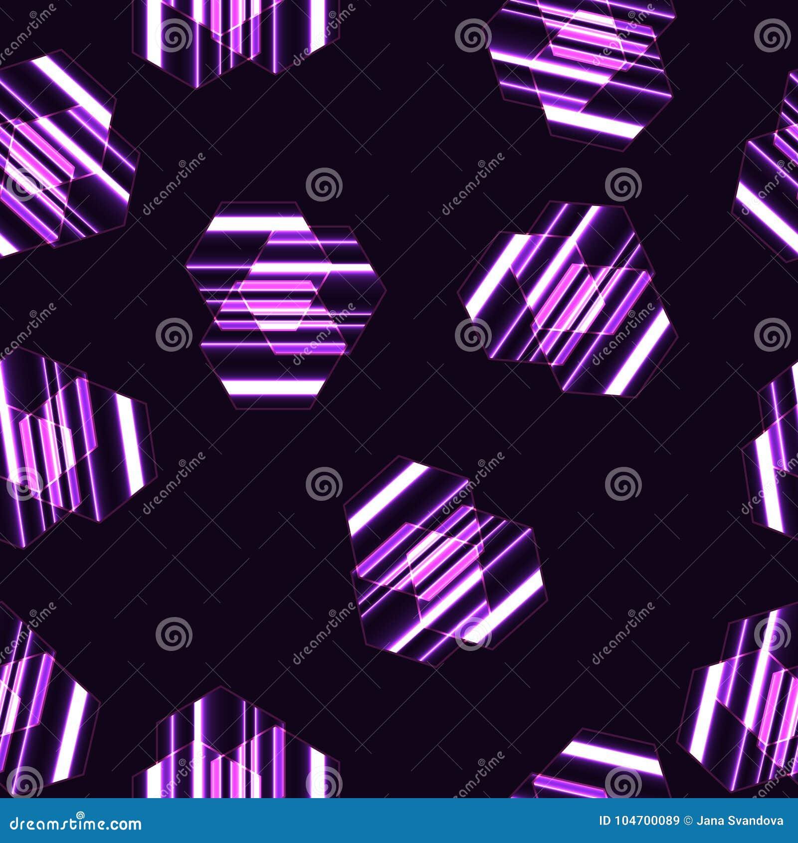 Modelo inconsútil moderno del vector, hexágonos rayados púrpuras, líneas rosadas, fondo negro