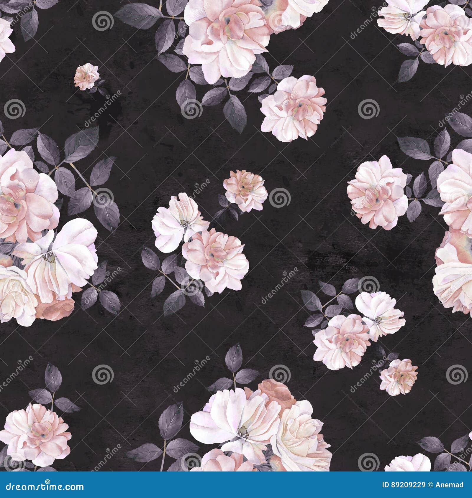 Modelo inconsútil oscuro de la acuarela de la flor de las rosas