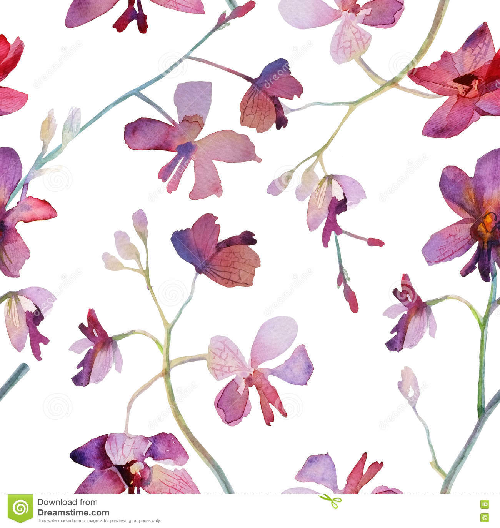 Modelo inconsútil púrpura de las orquídeas Pintura de la acuarela