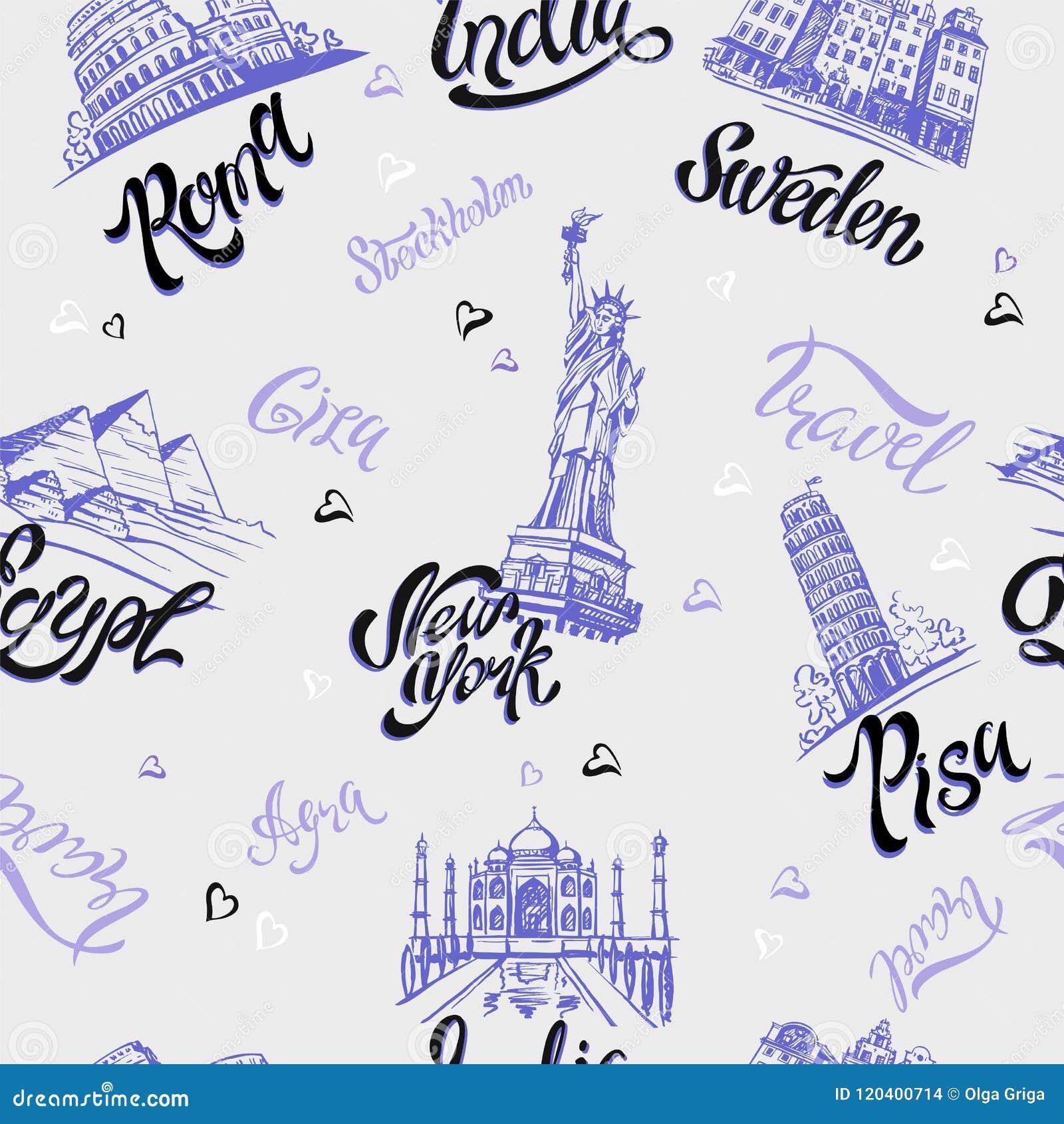 Modelo inconsútil Países y ciudades deletreado bosquejos señales Viajes Italia, Roma, América, Suecia, la India, Egipto Vector