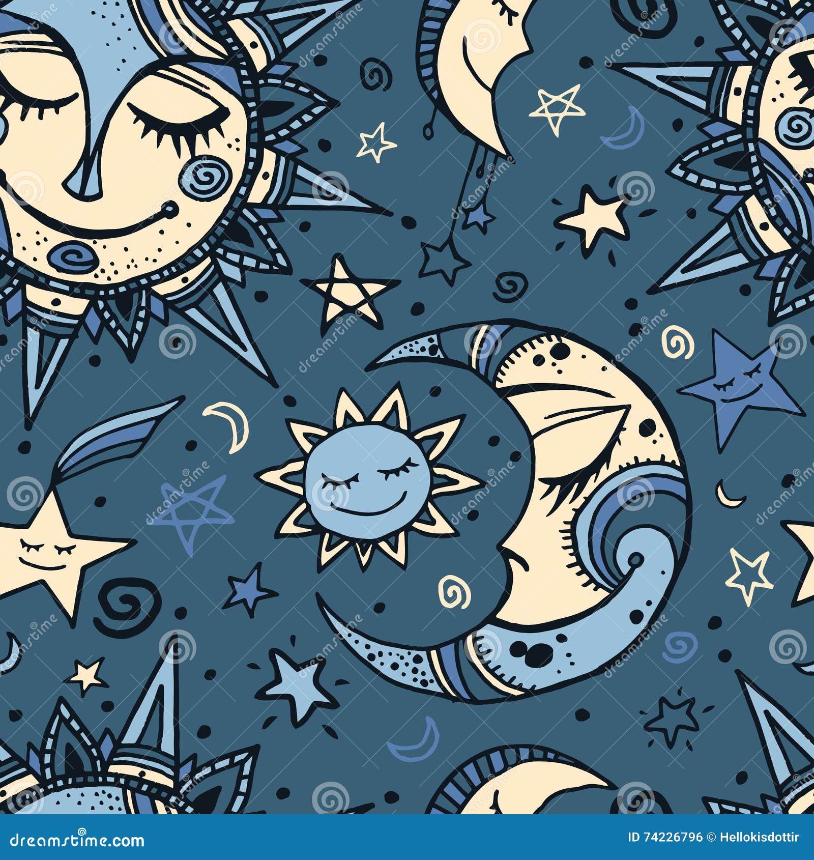 Modelo Inconsútil Tribal Con El Sol La Luna Y Las Estrellas