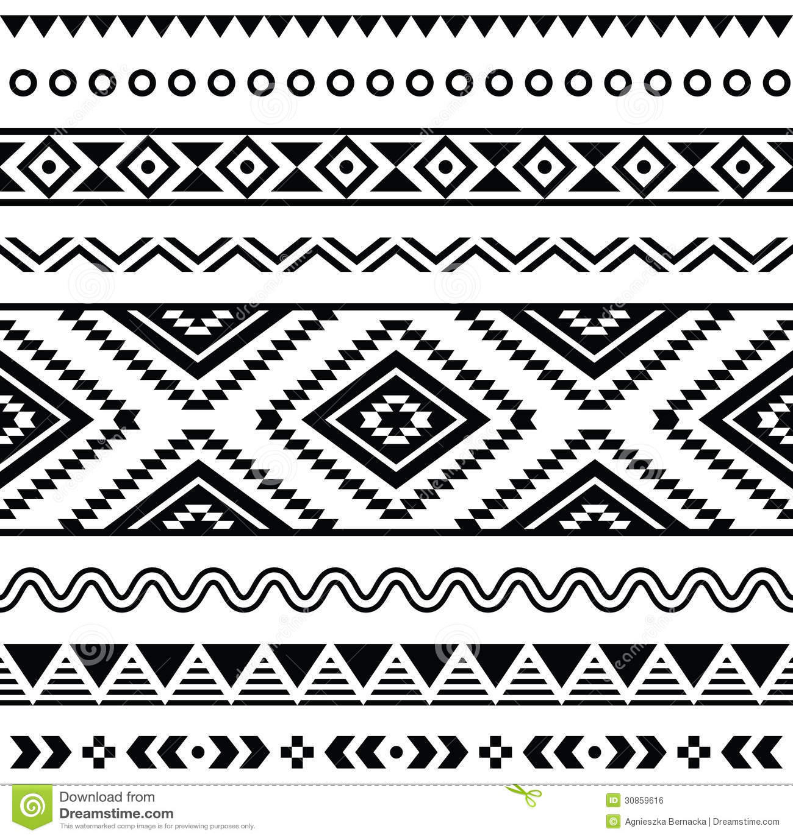 Modelo inconsútil tribal, fondo blanco y negro azteca