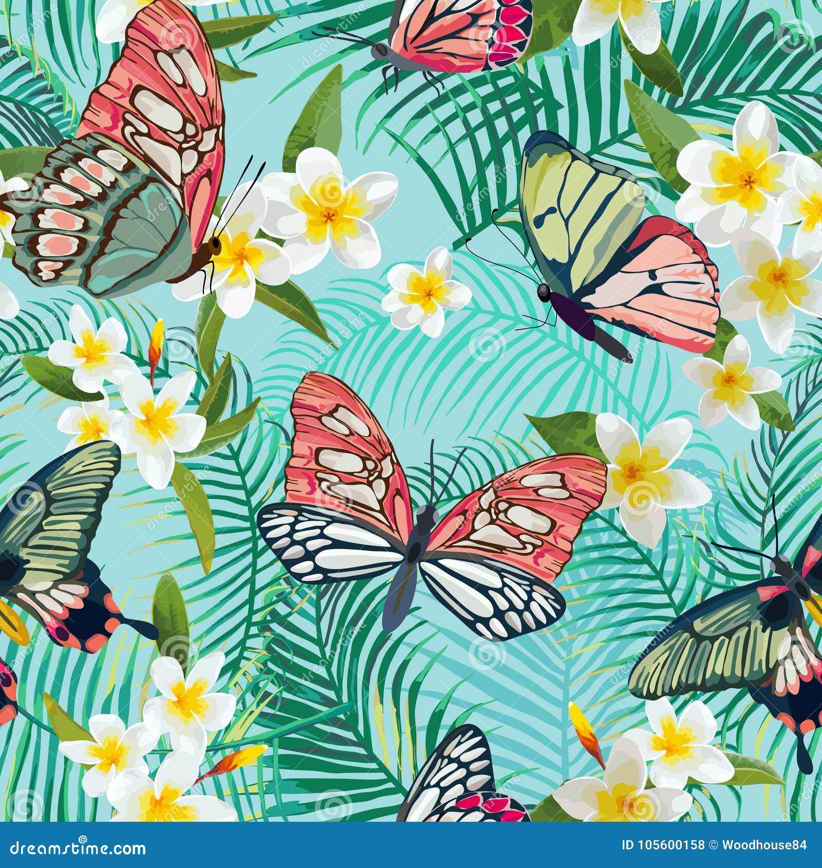 Modelo inconsútil tropical con las flores y las mariposas exóticas Fondo floral de las hojas de palma Diseño de la tela de la mod