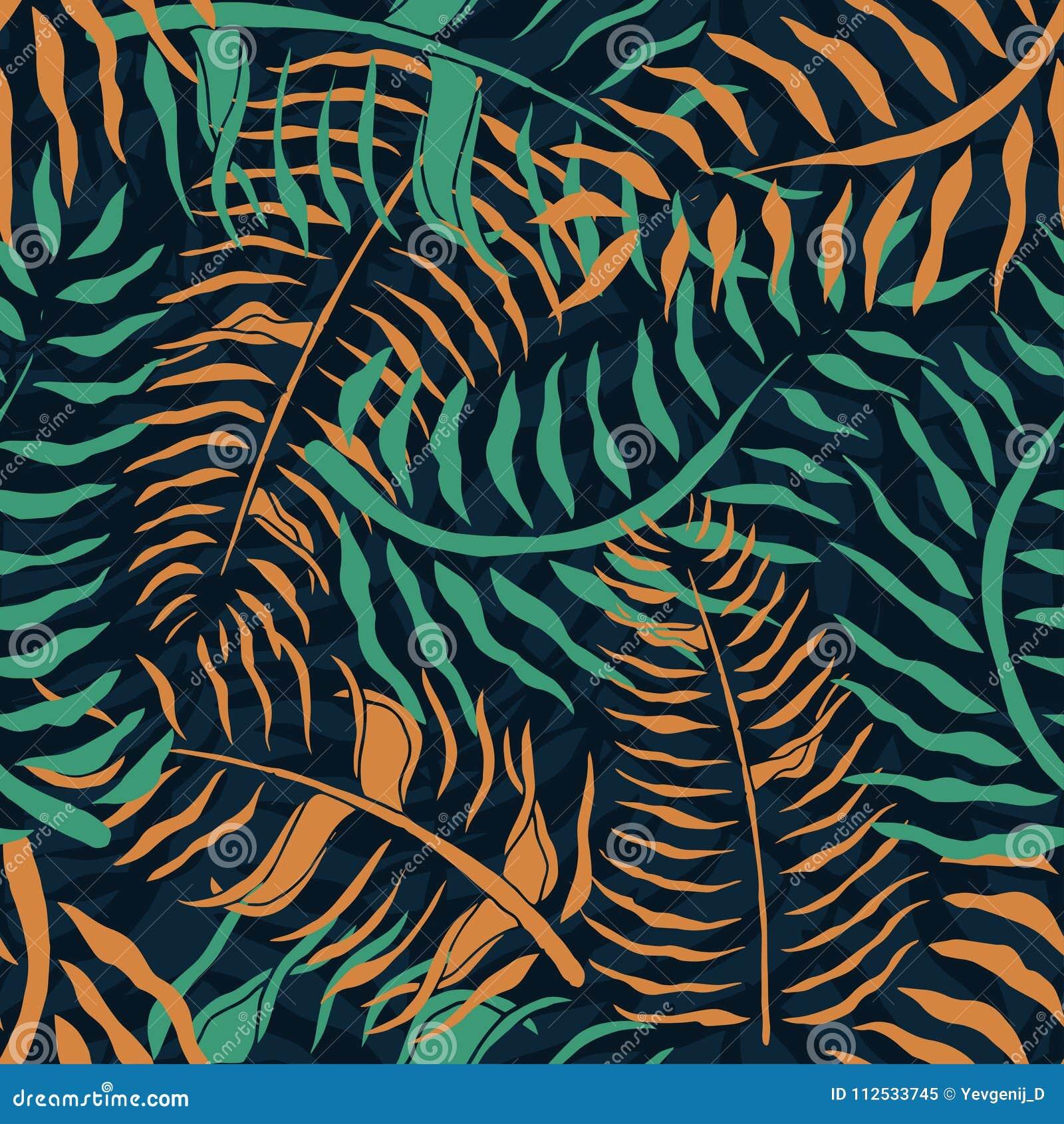 Modelo inconsútil tropical con las hojas de palma Estampado de flores del verano con follaje verde y anaranjado de la palma en fo