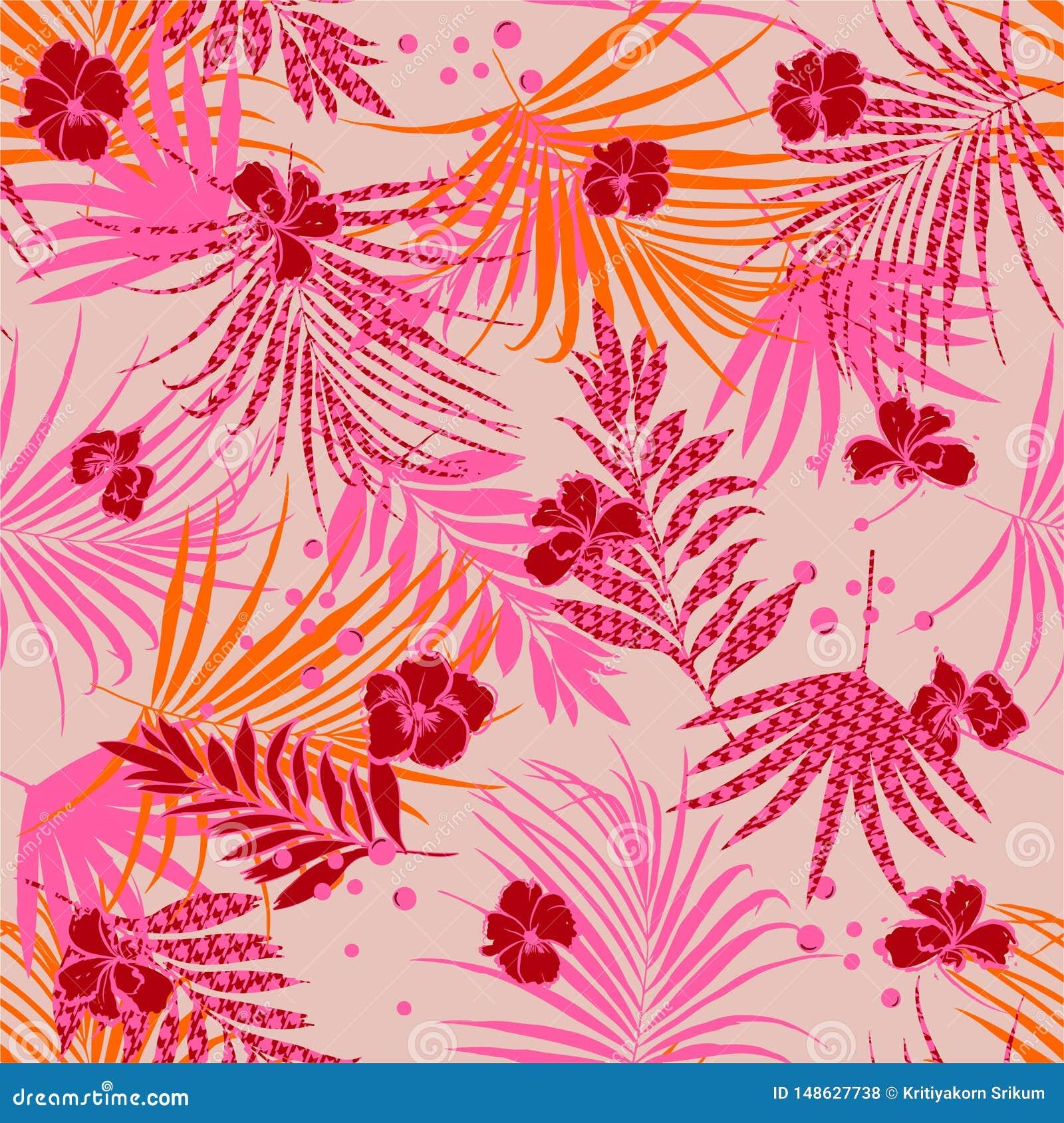 Modelo incons?til tropical del verano rosado colorido del humor con el fondo de relleno de Houndstooth de las flores y de las hoj
