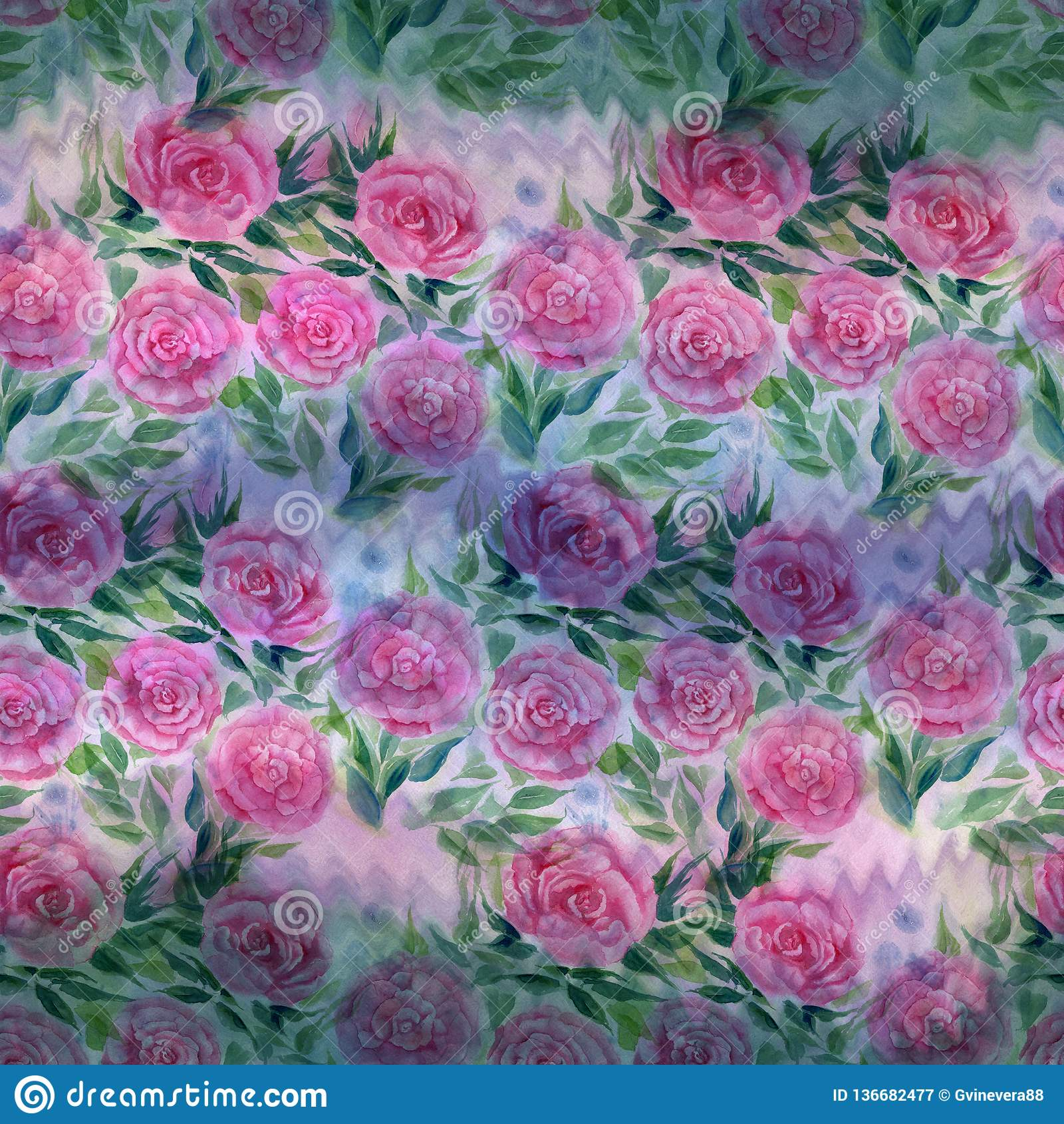 Modelo inconsútil watercolor E Papel pintado abstracto con adornos florales