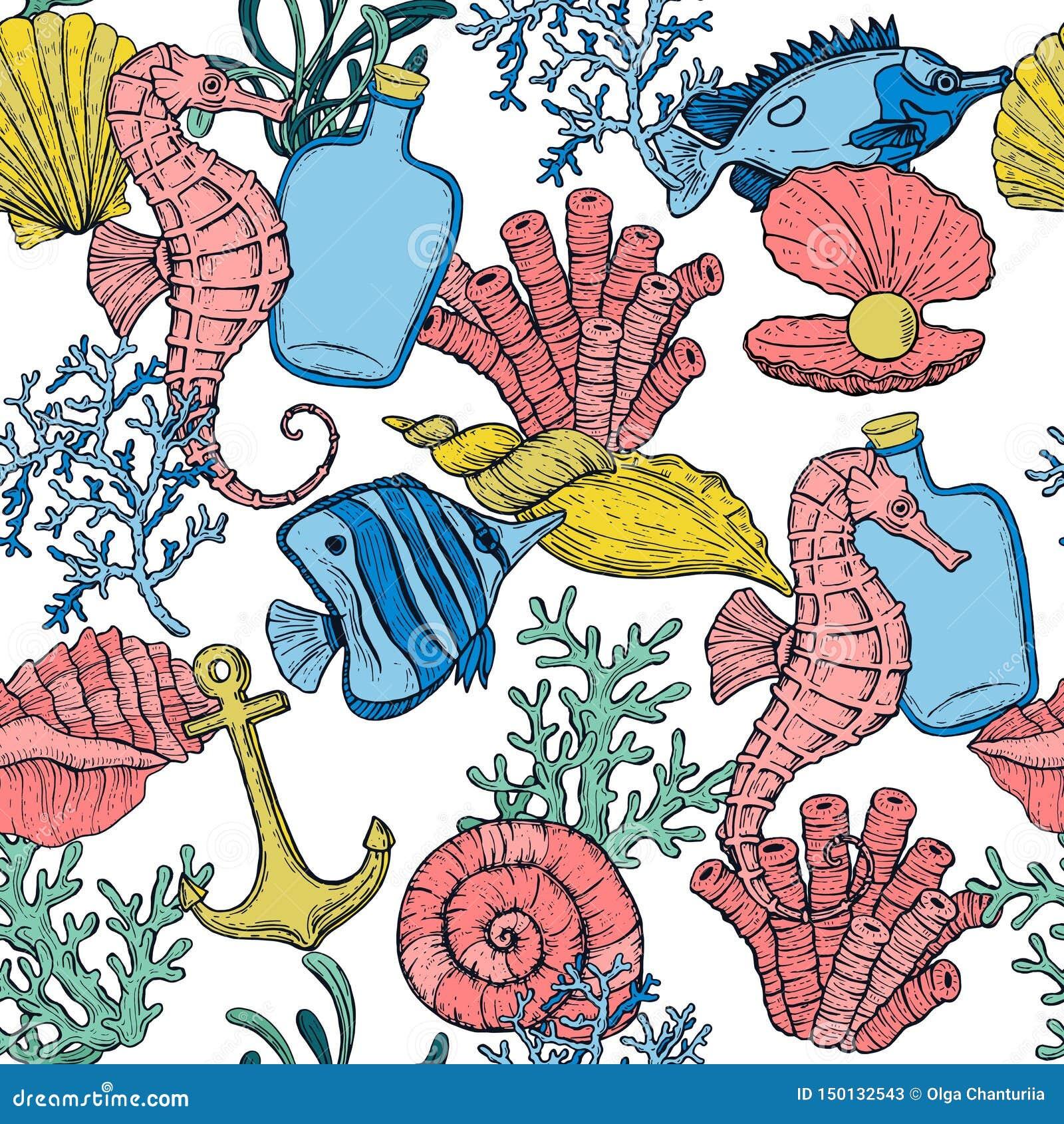Modelo incons?til Cáscara, alga marina, ancla, botella, seahorse, y pescados del mar Criaturas subacu?ticas dibujadas mano