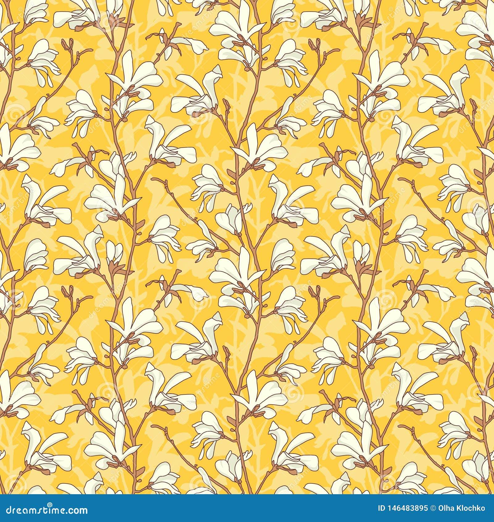 Modelo incons?til con el flor del ?rbol de la magnolia Fondo floral amarillo con la rama y la flor blanca de la magnolia Primaver