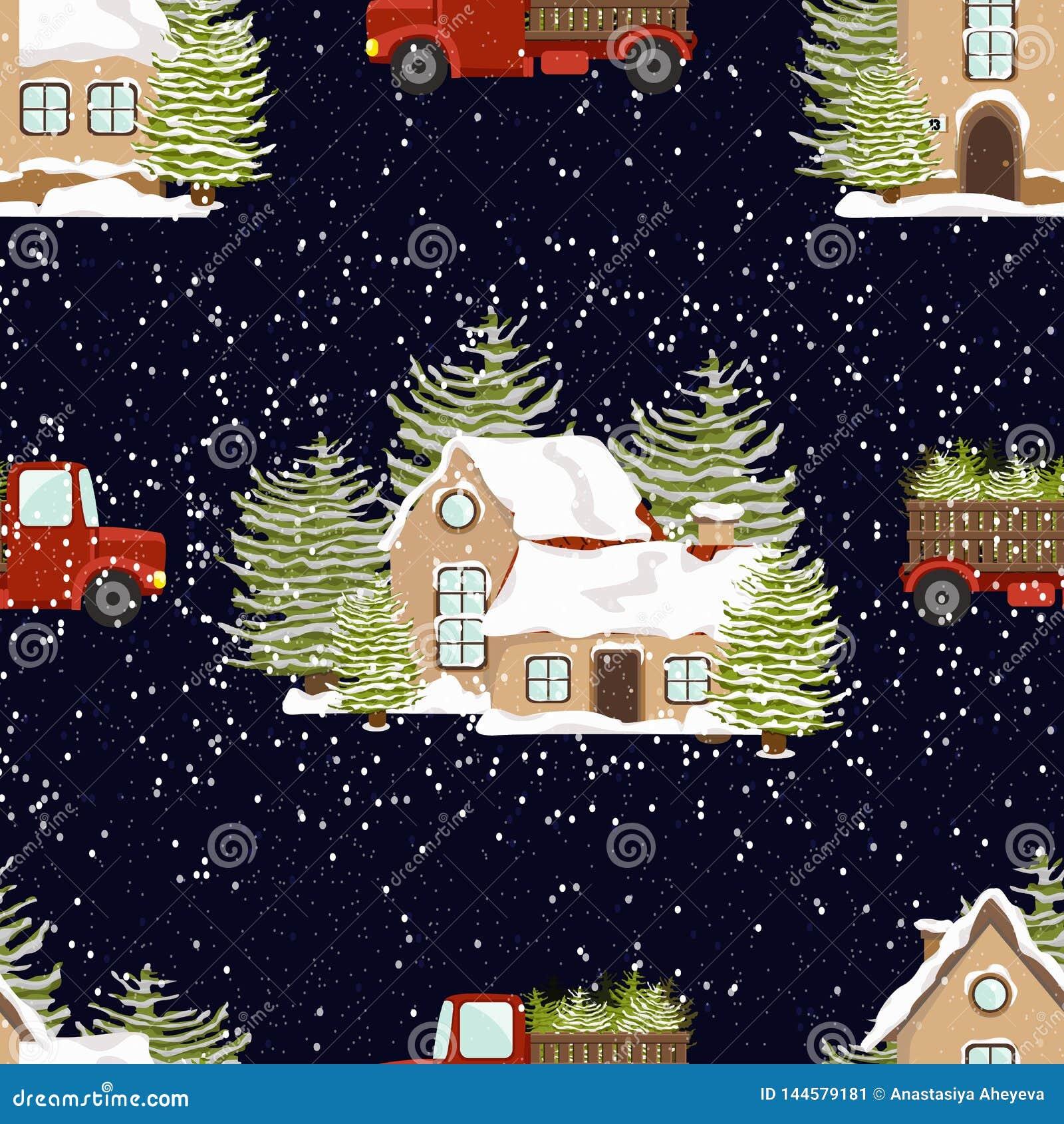 Modelo incons?til del vector Ilustraci?n del invierno ` S del A?o Nuevo y la Navidad Casas en la nieve y camiones rojos con los ?